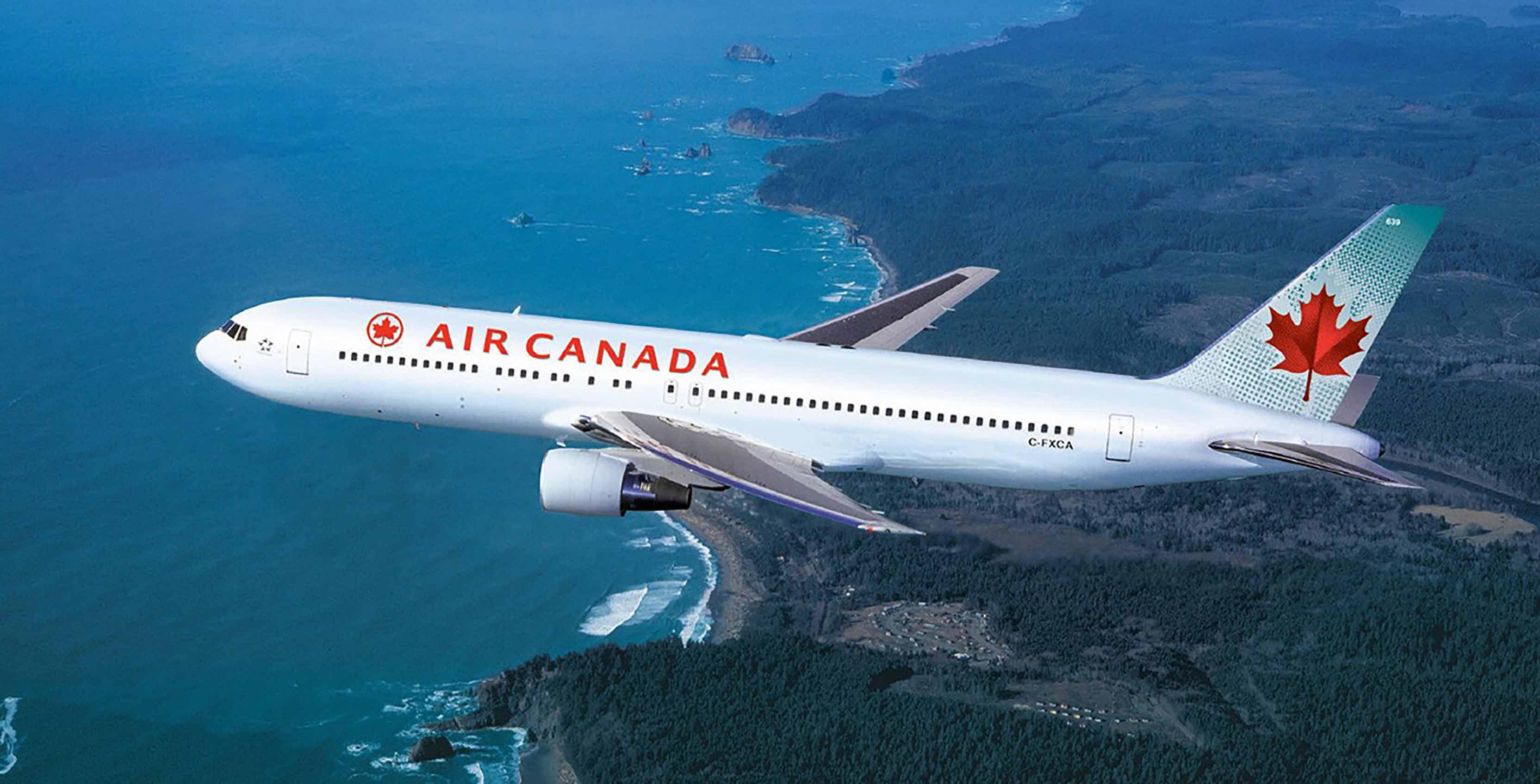 Air Canada plane in air