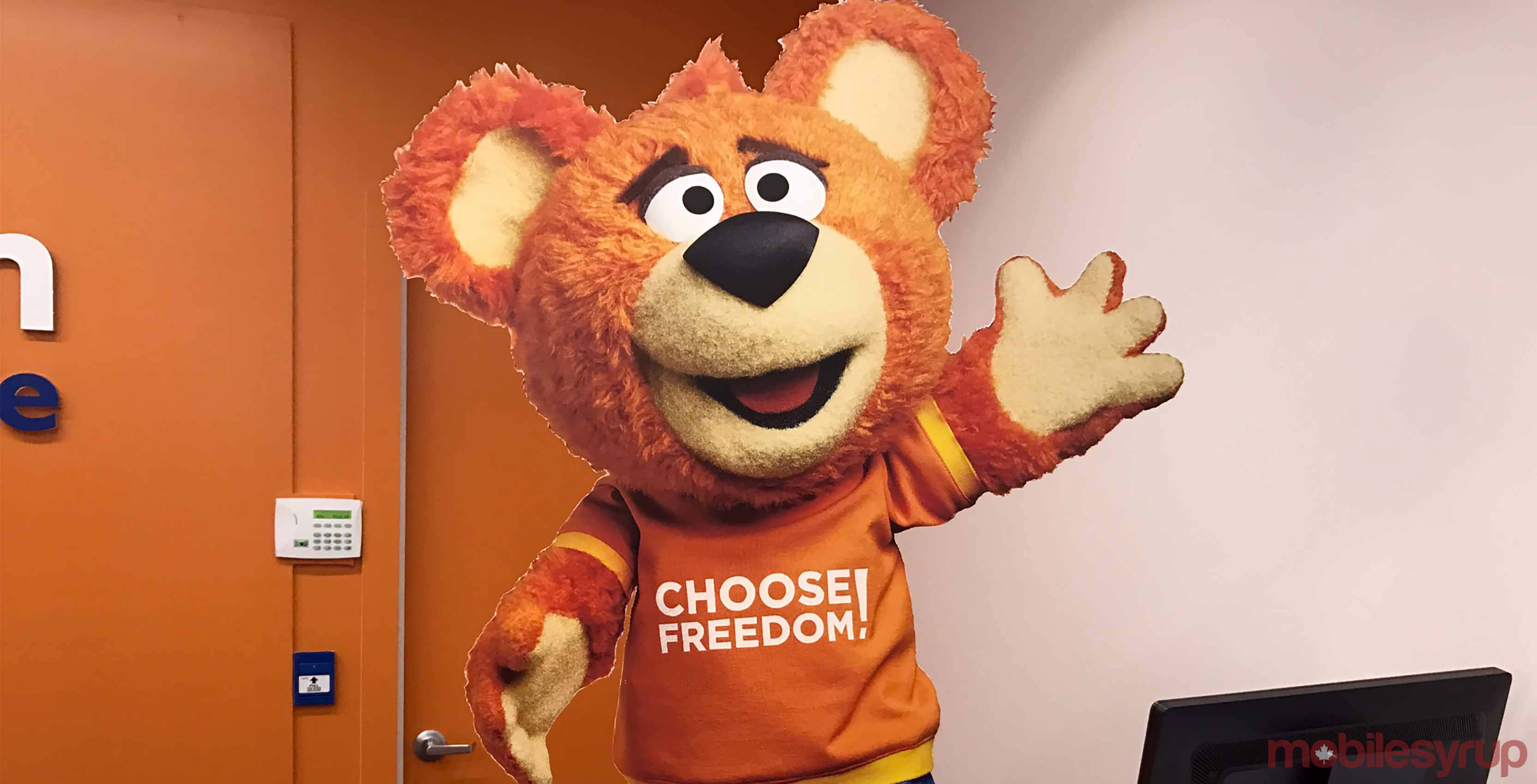 freedom mobile mascot bear