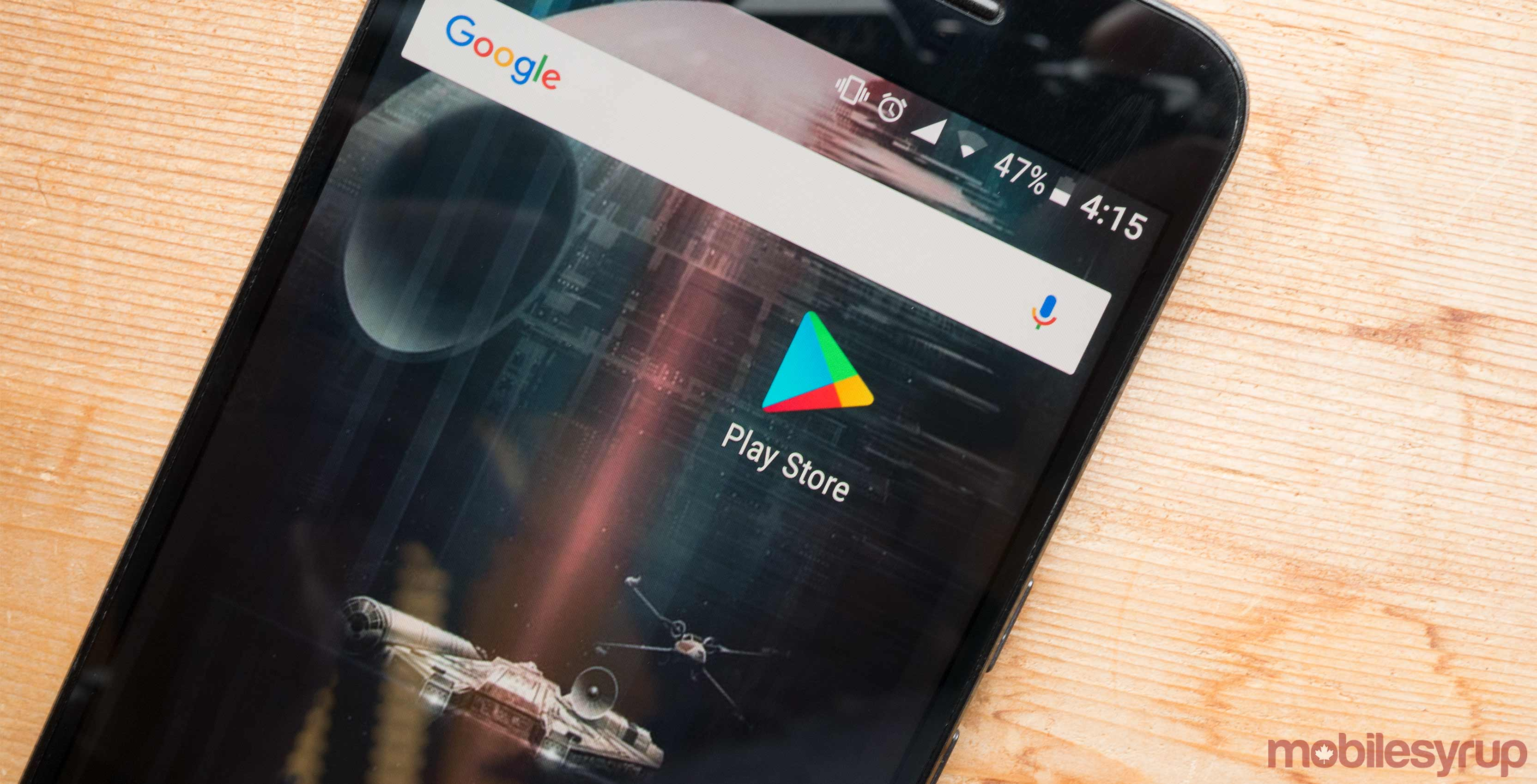 An image showcasing the Google Play Store app icon