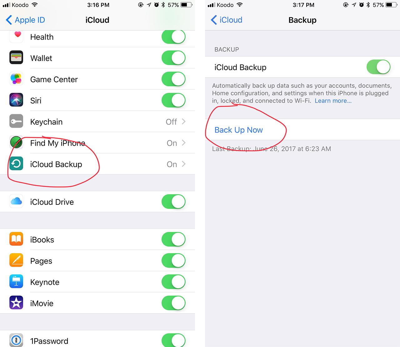 iOS backing up screenshot