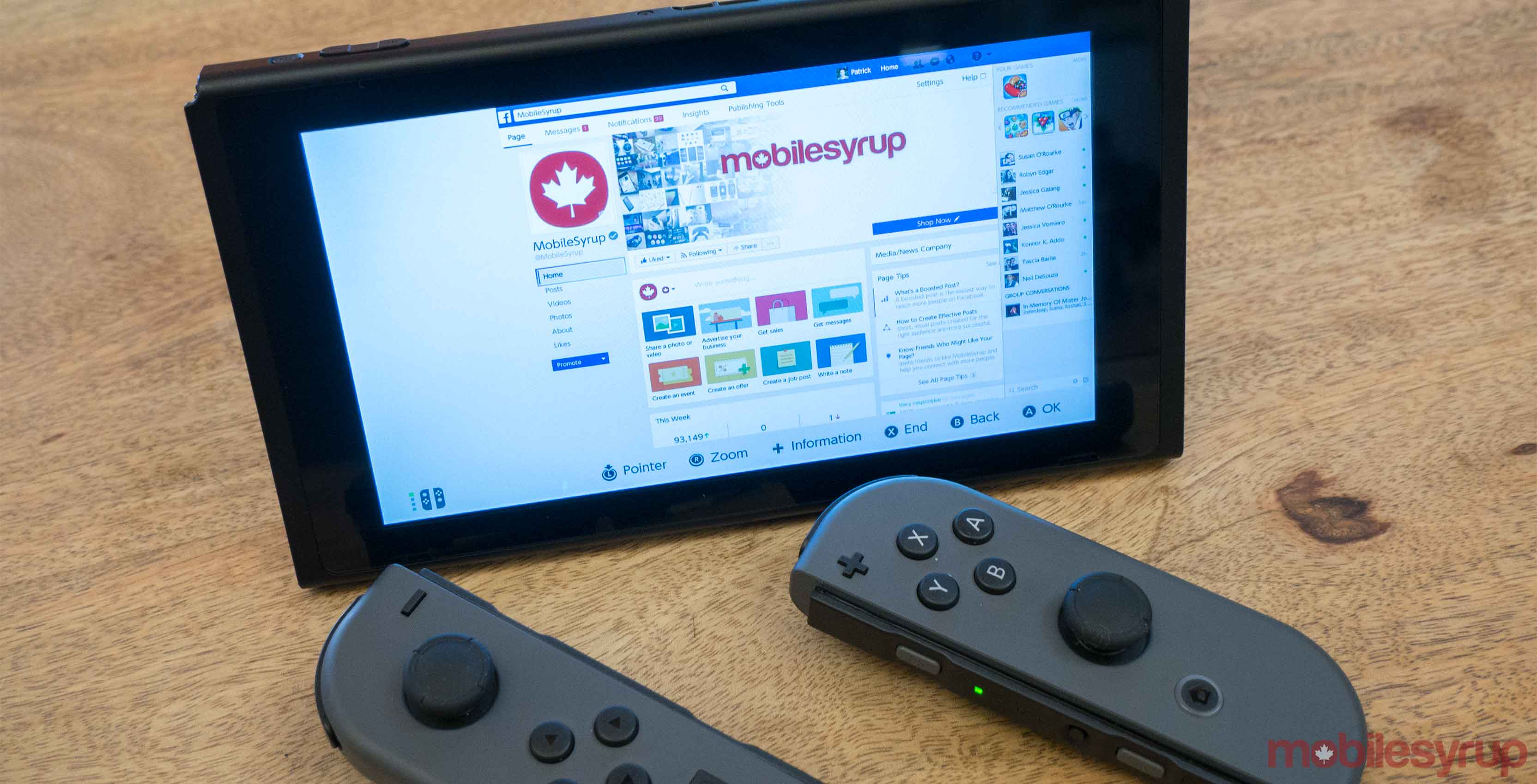 Nintendo Switch with browser