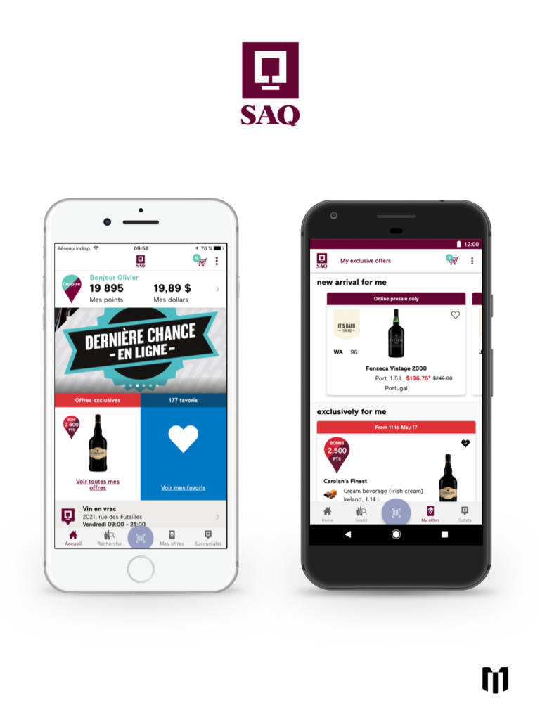 An image highlighting the SAQ mobile app's main screen