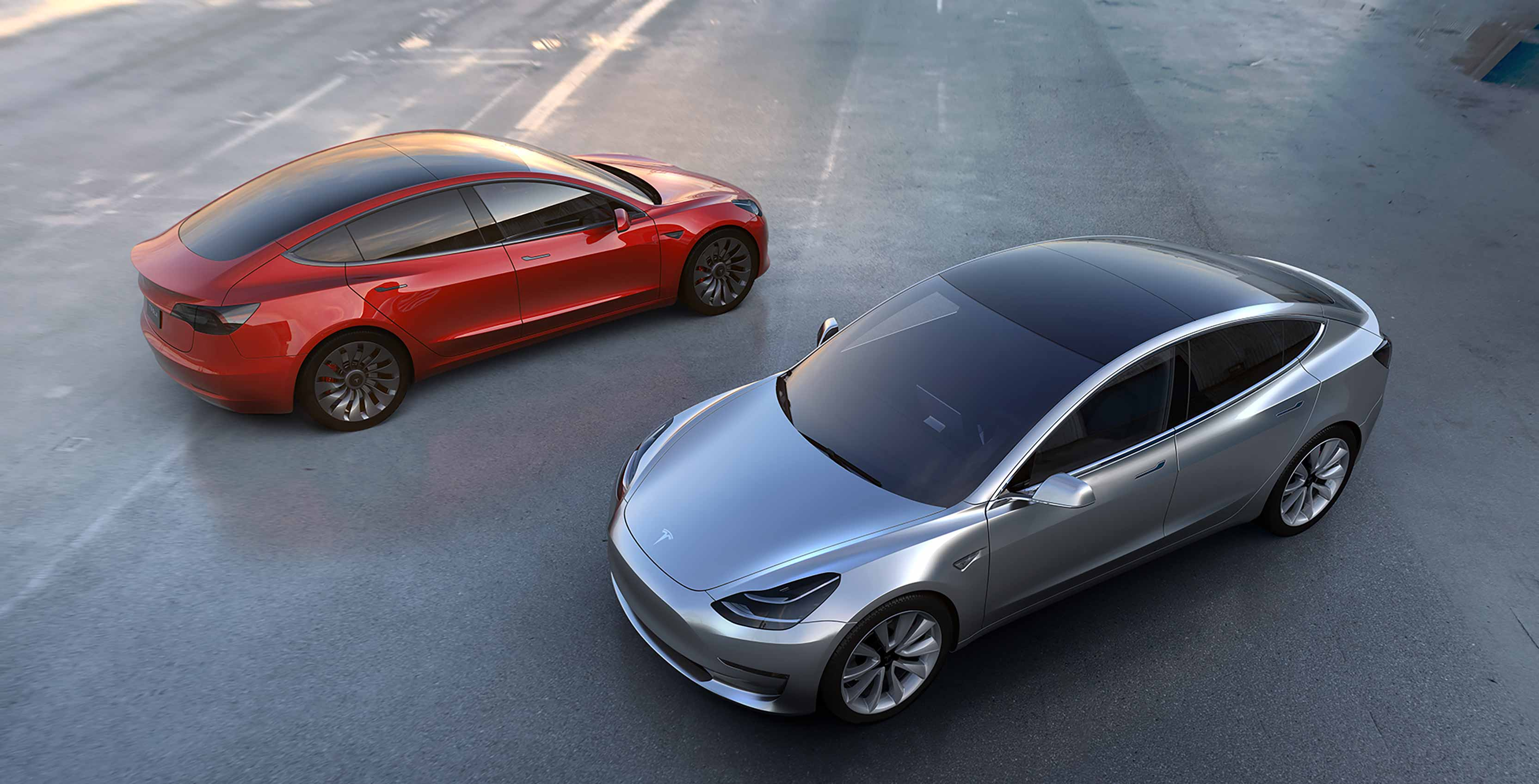 Tesla Model 3 Red and Silver