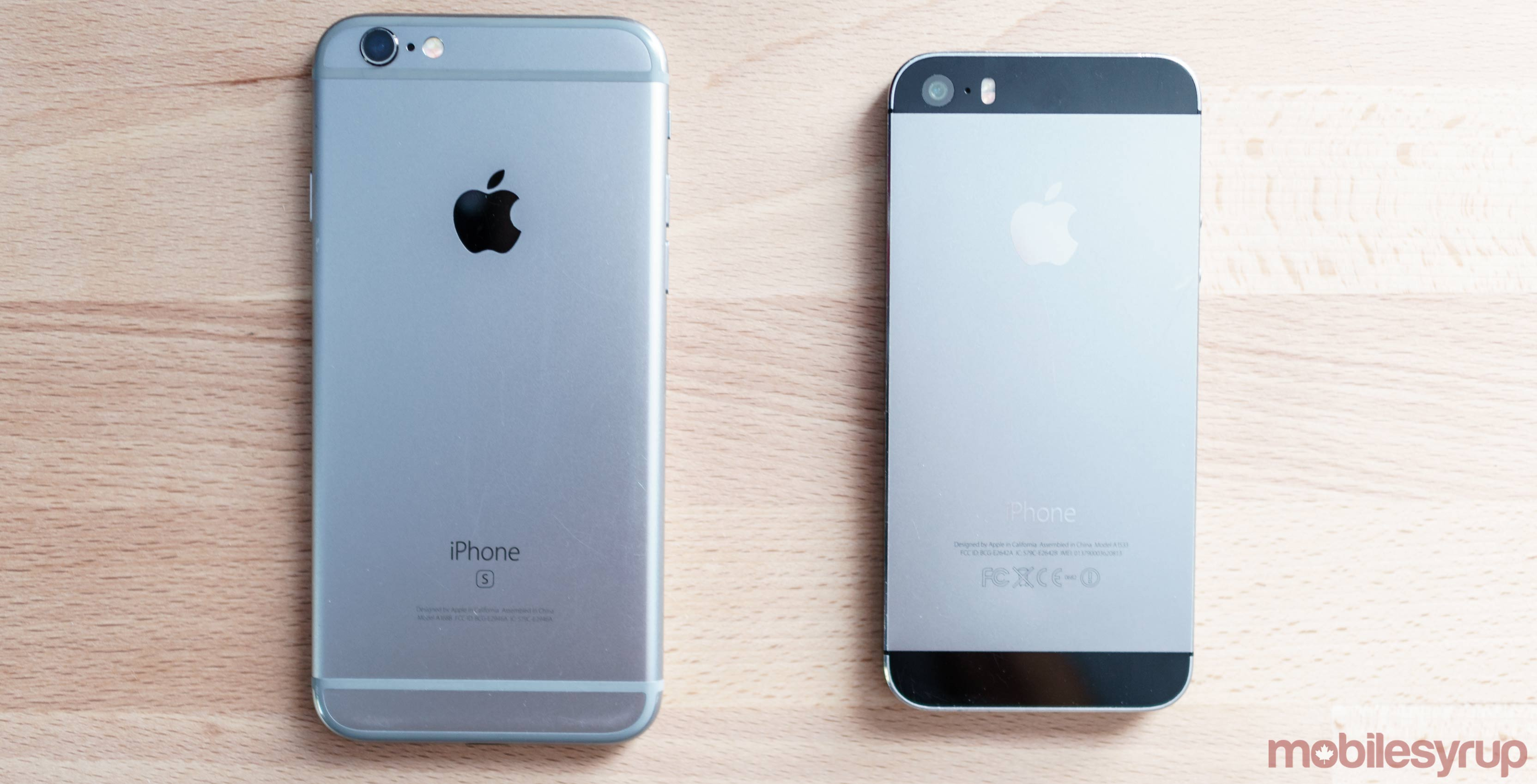 iPhone 5S and iPhone 6S side by side