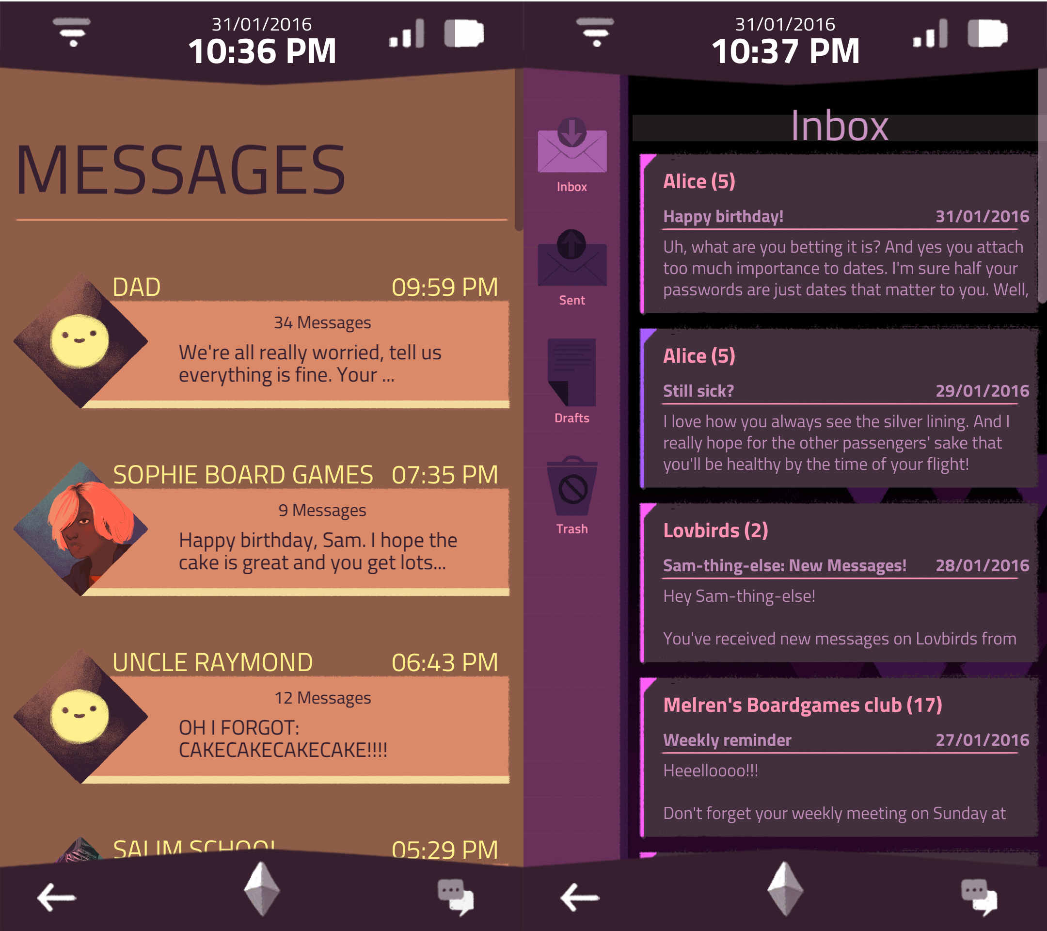 An image of the messages and email apps on the phone