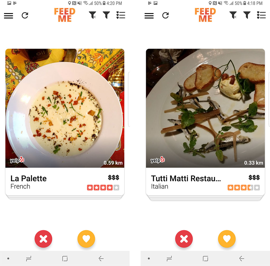 An image showing the swipe interface on Feed Me