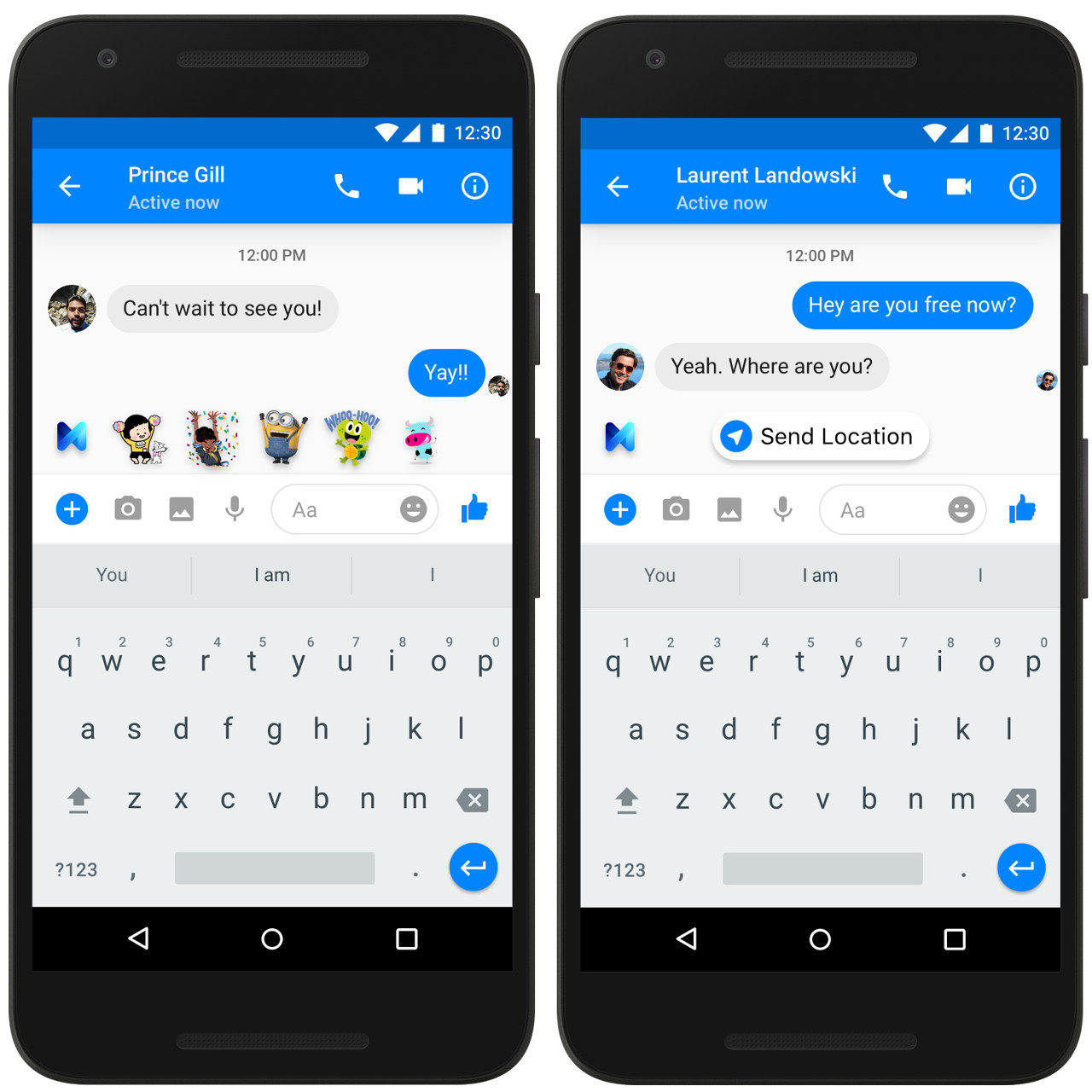 An image showing the M digital assistant suggesting location sharing and stickers