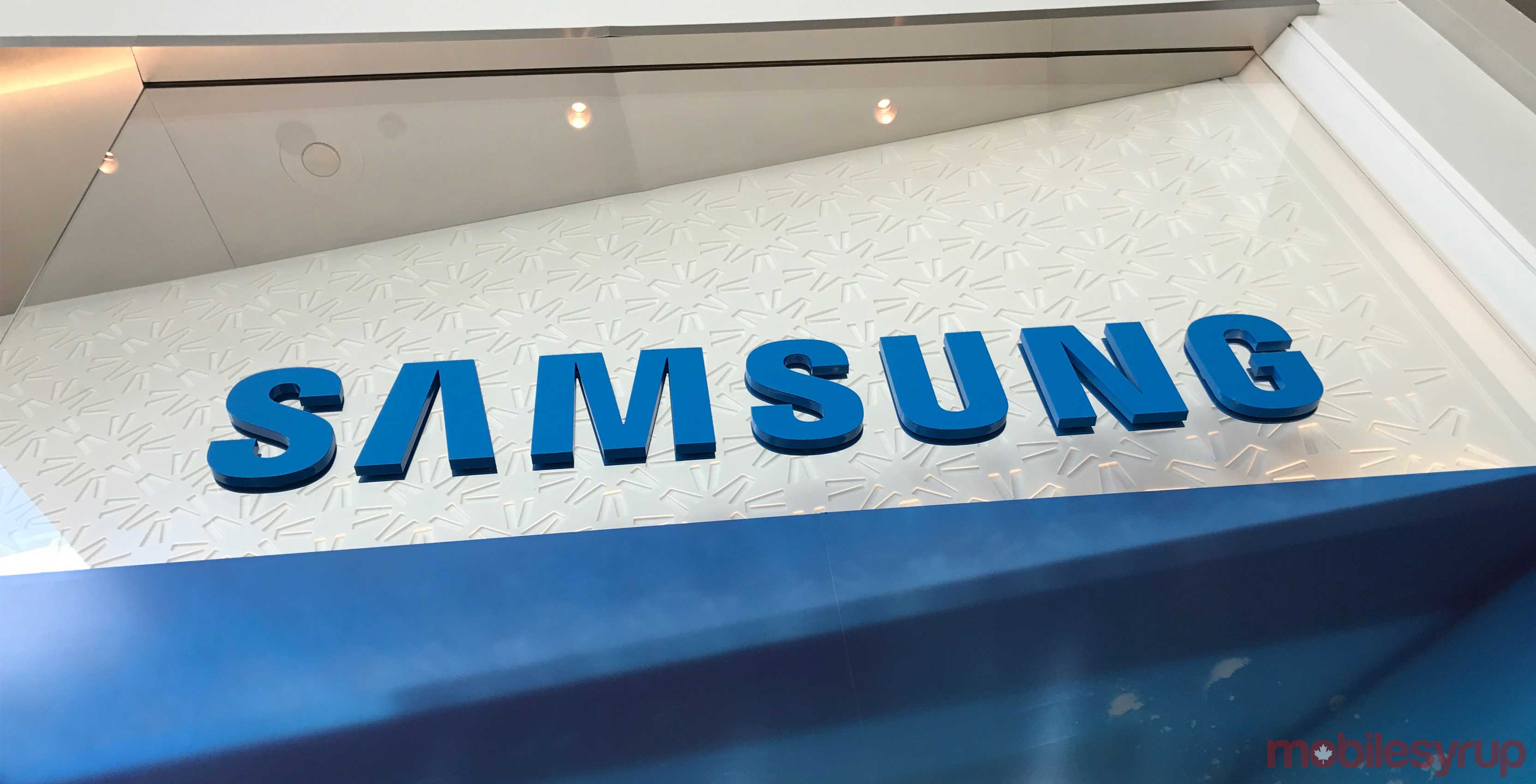 The blue Samsung store logo