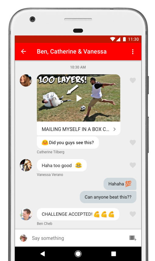 An image showing the chat view on the YouTube chat app