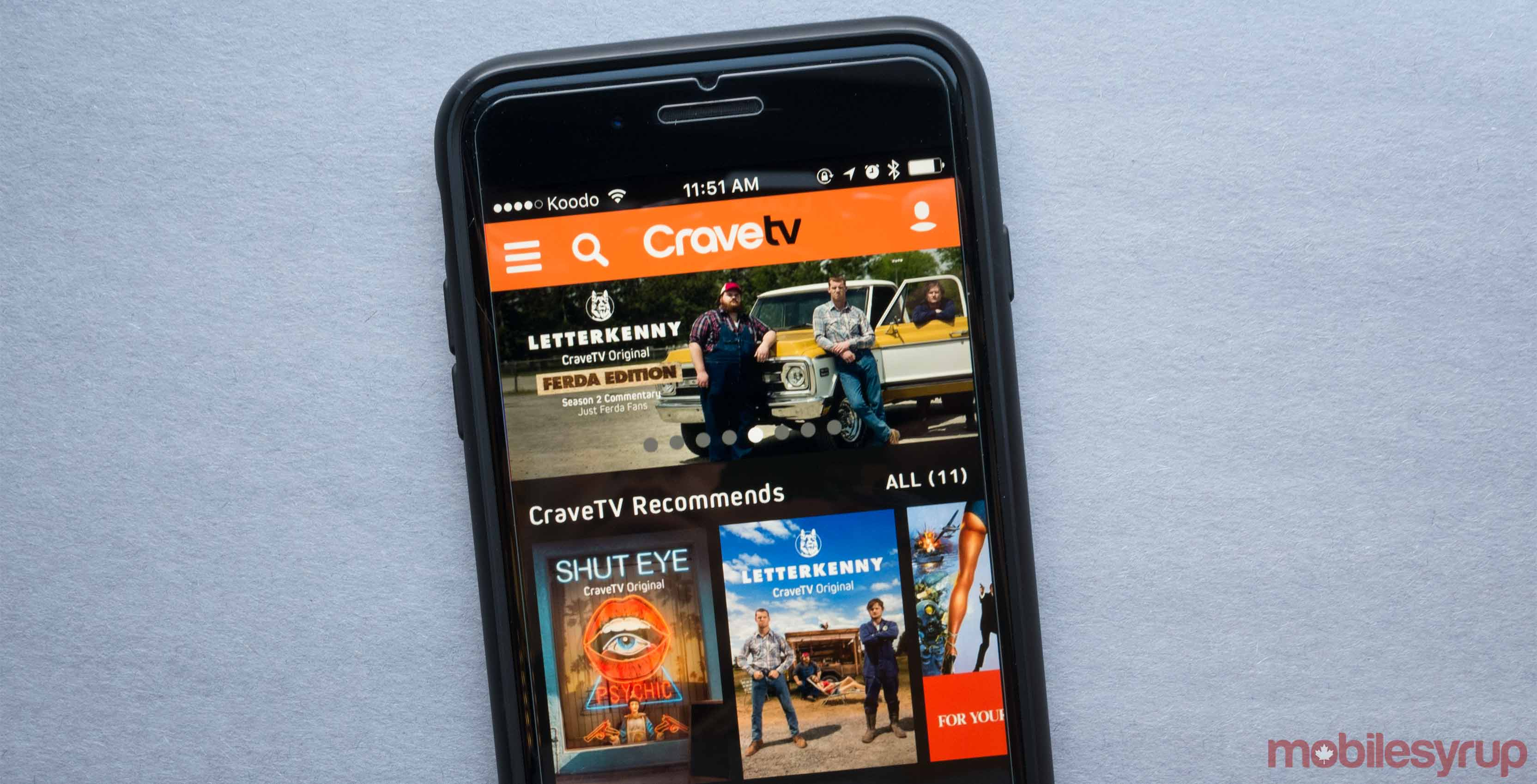 Crave TV app on a smartphone