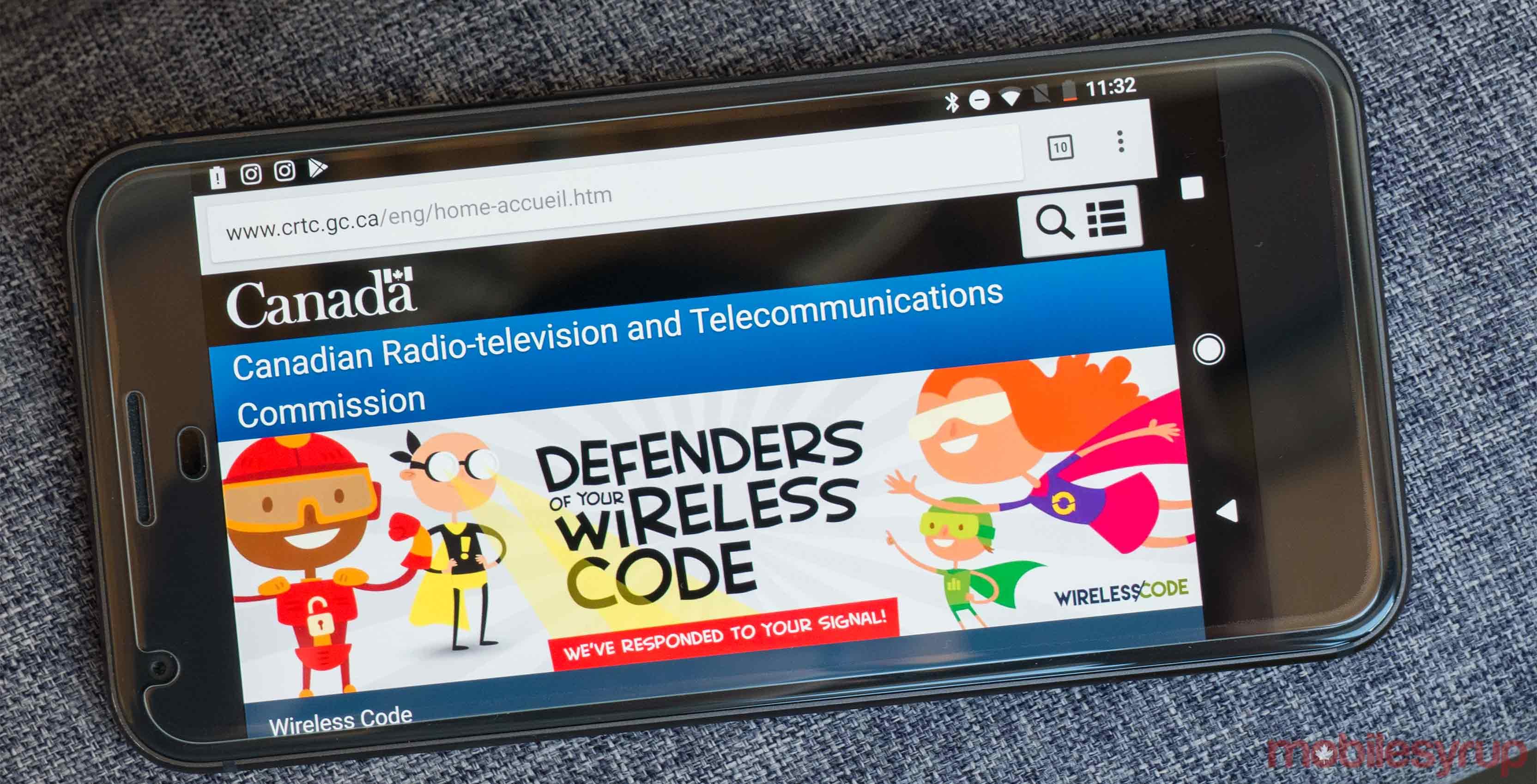 CRTC site on phone