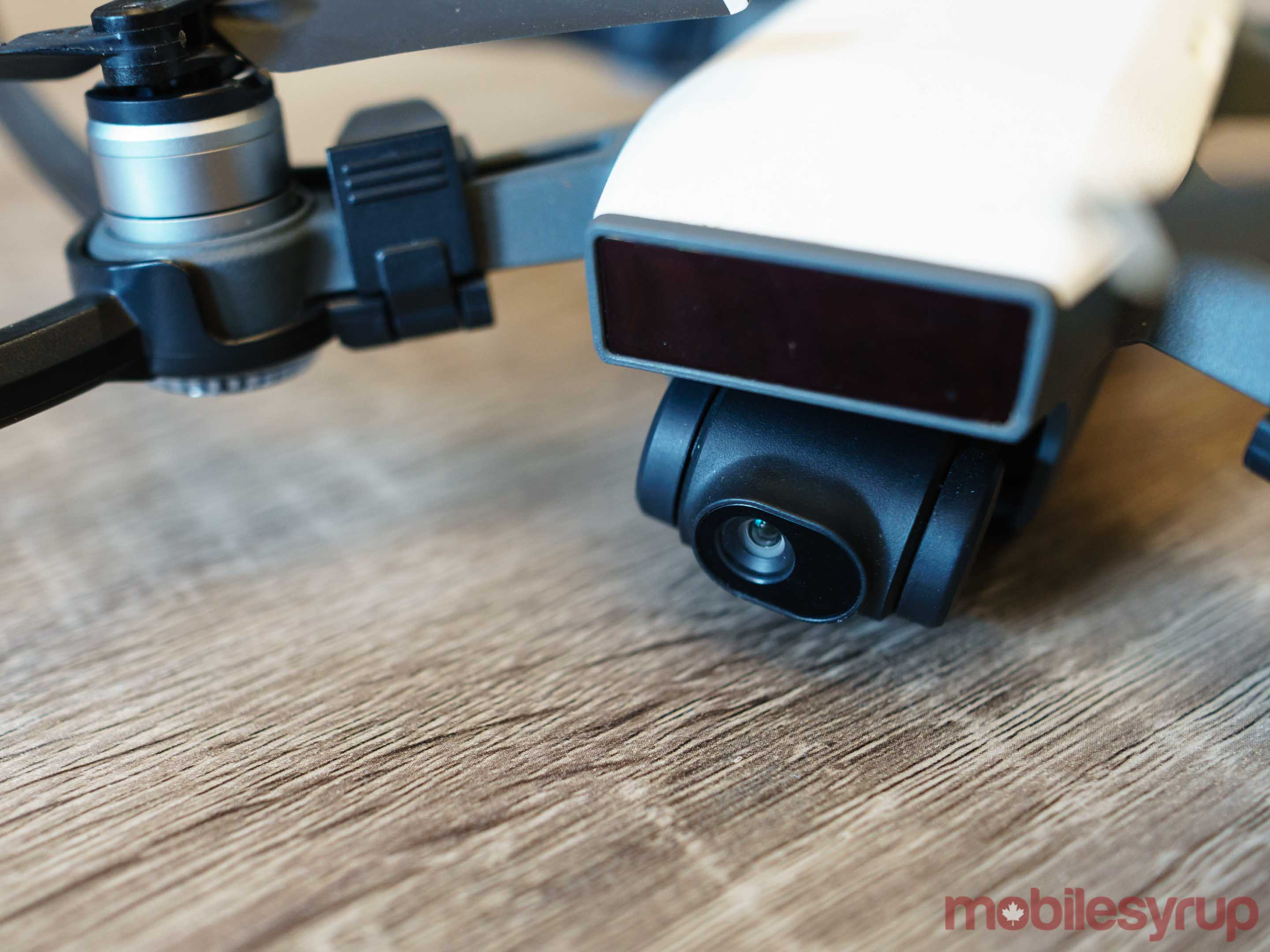 Close up of DJI Spark two-axis gimbal