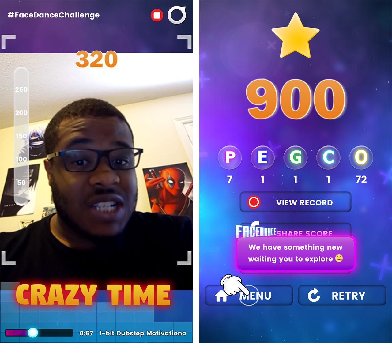 screenshots of facedance challenge! being played