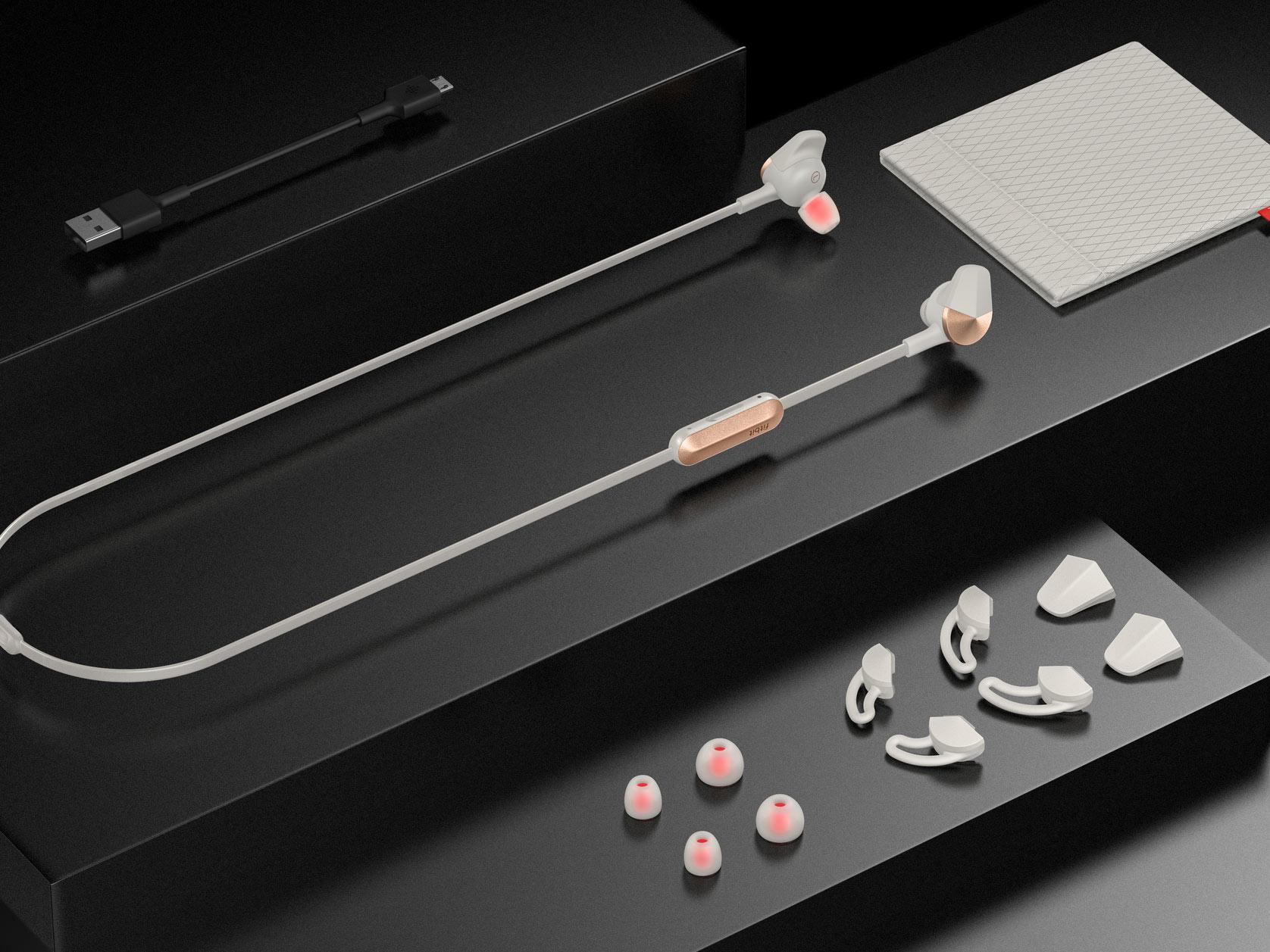 Fitbit Flyer headphones in Lunar Gray