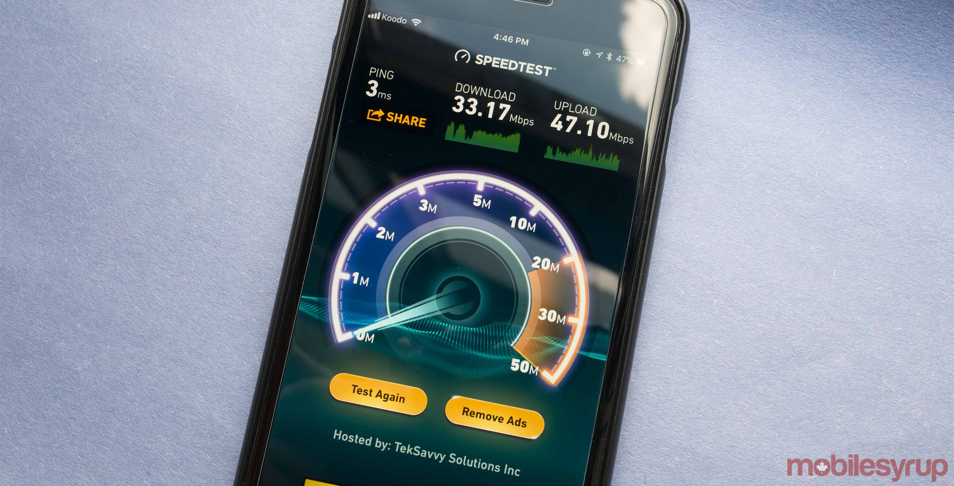An image showing the results of a Speedtest