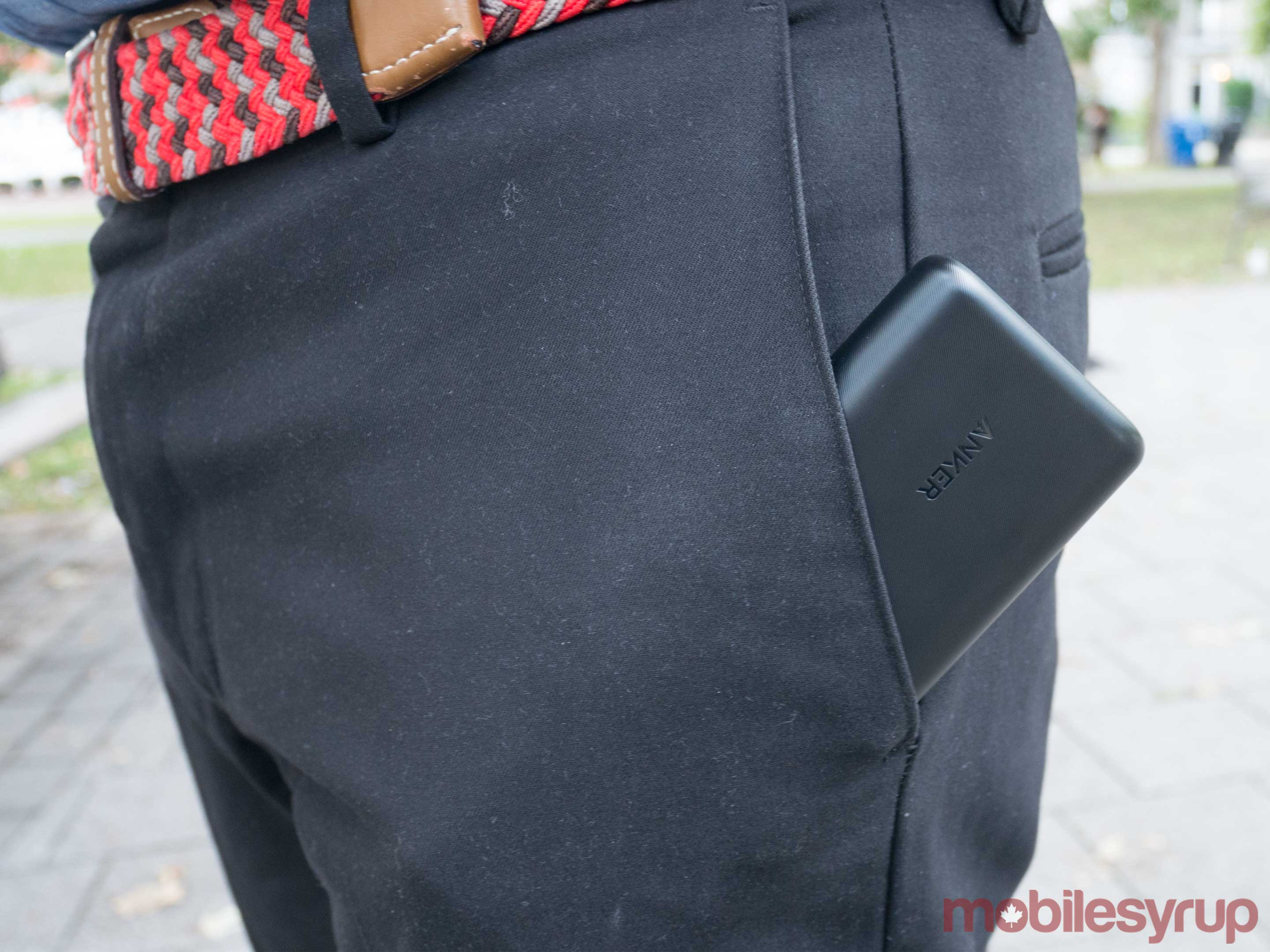 The Anker PowerCore in a pocket