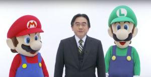 Satoru Iwata with Mario and Luigi