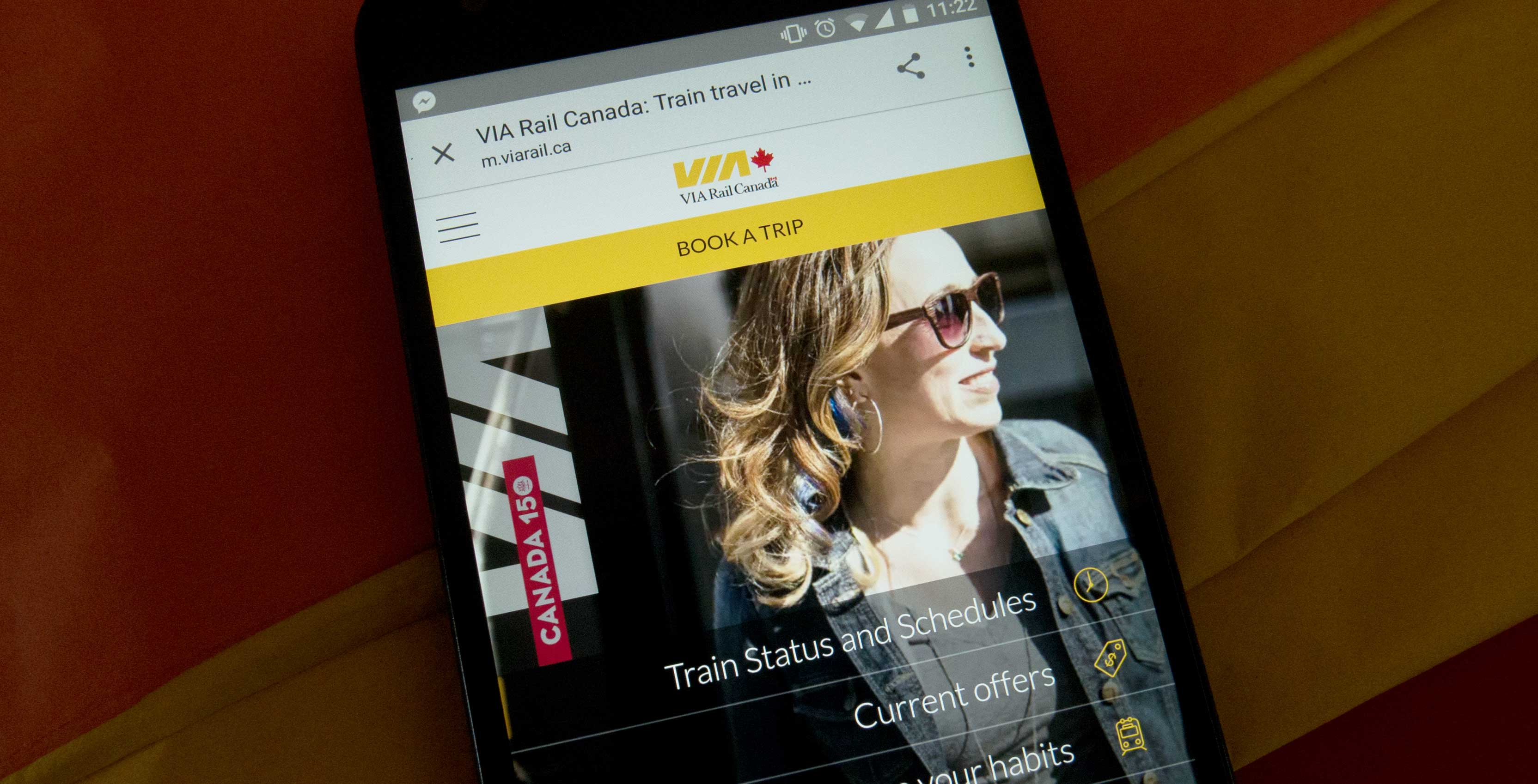 The Via Rail mobile site