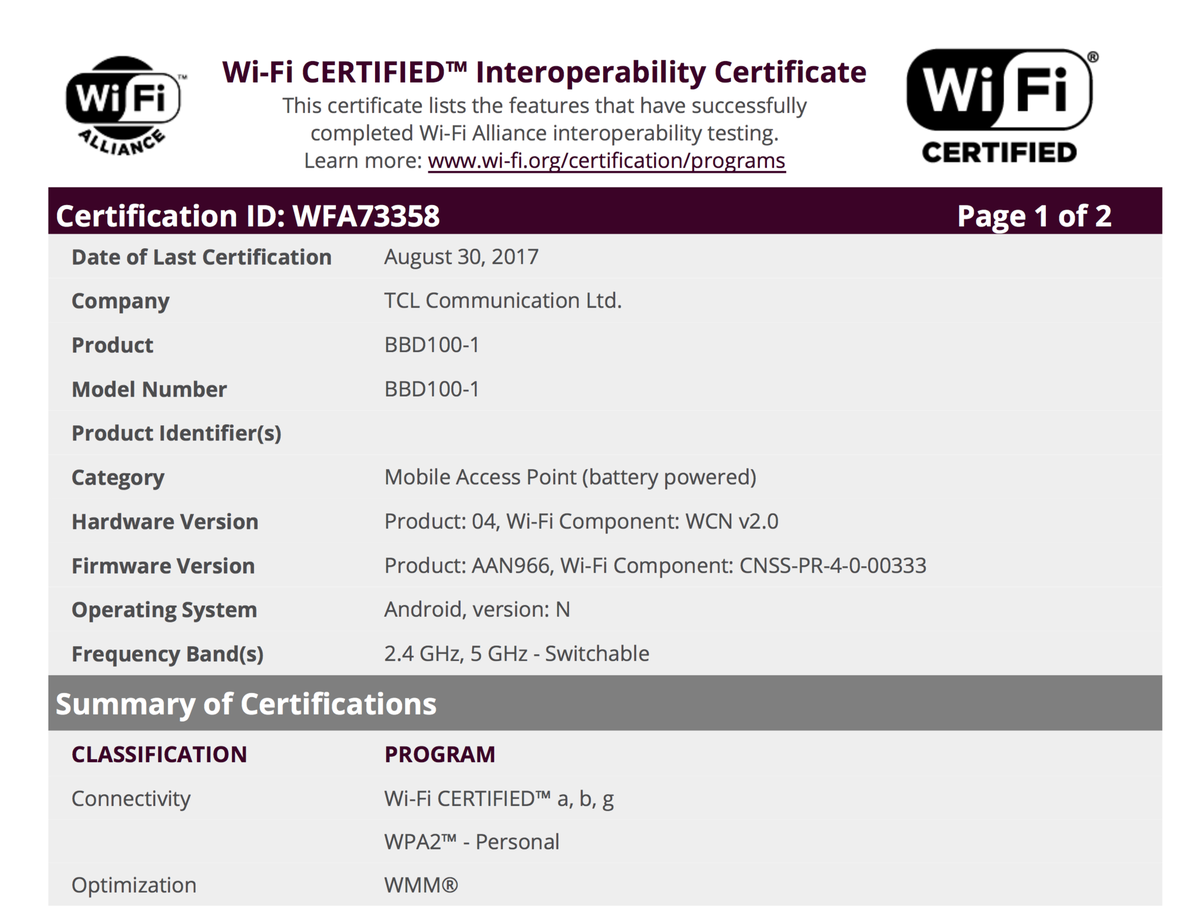 Wi-Fi certification for the BlackBerry Krypton
