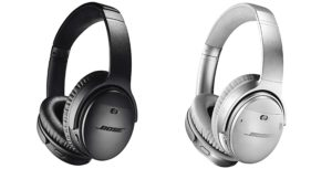 The black and silver Bose QC35 II headphones.