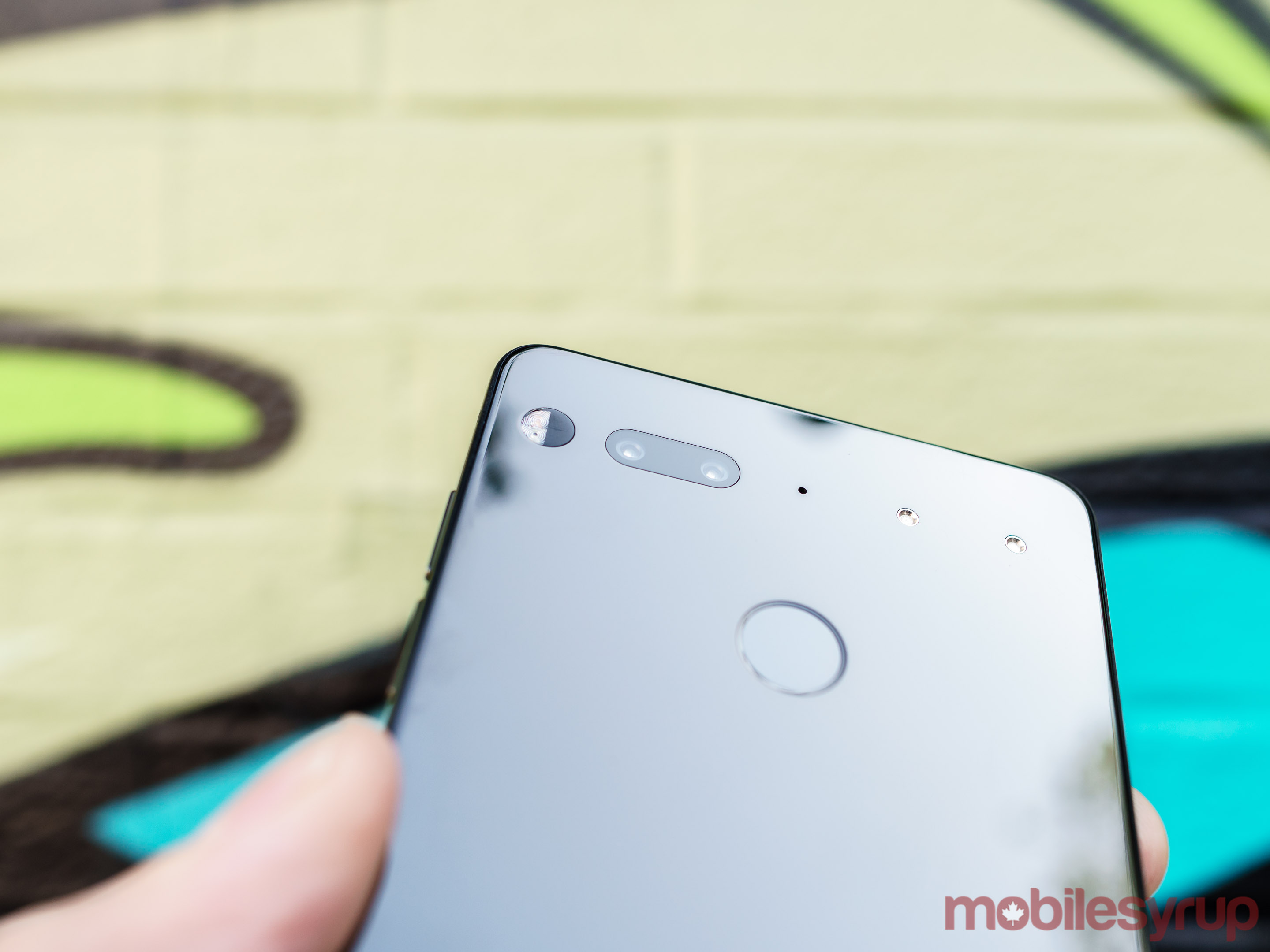 Closeup of Essential Phone cameras