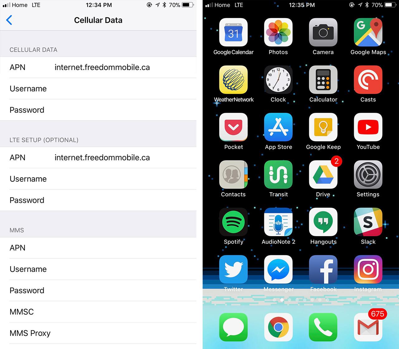 Freedom mobile screenshot