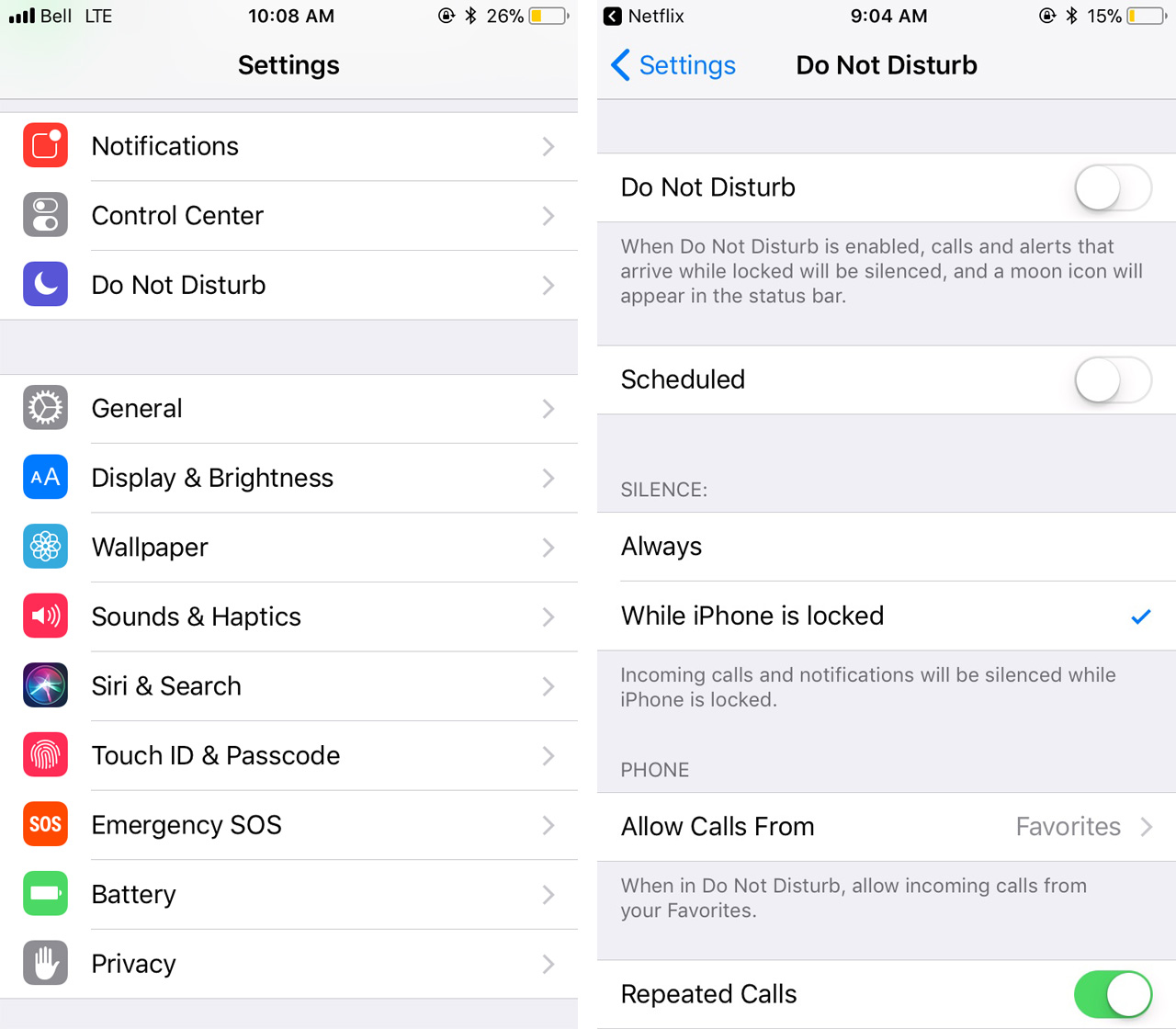 An image of the settings menu and the Do Not Disturb menu
