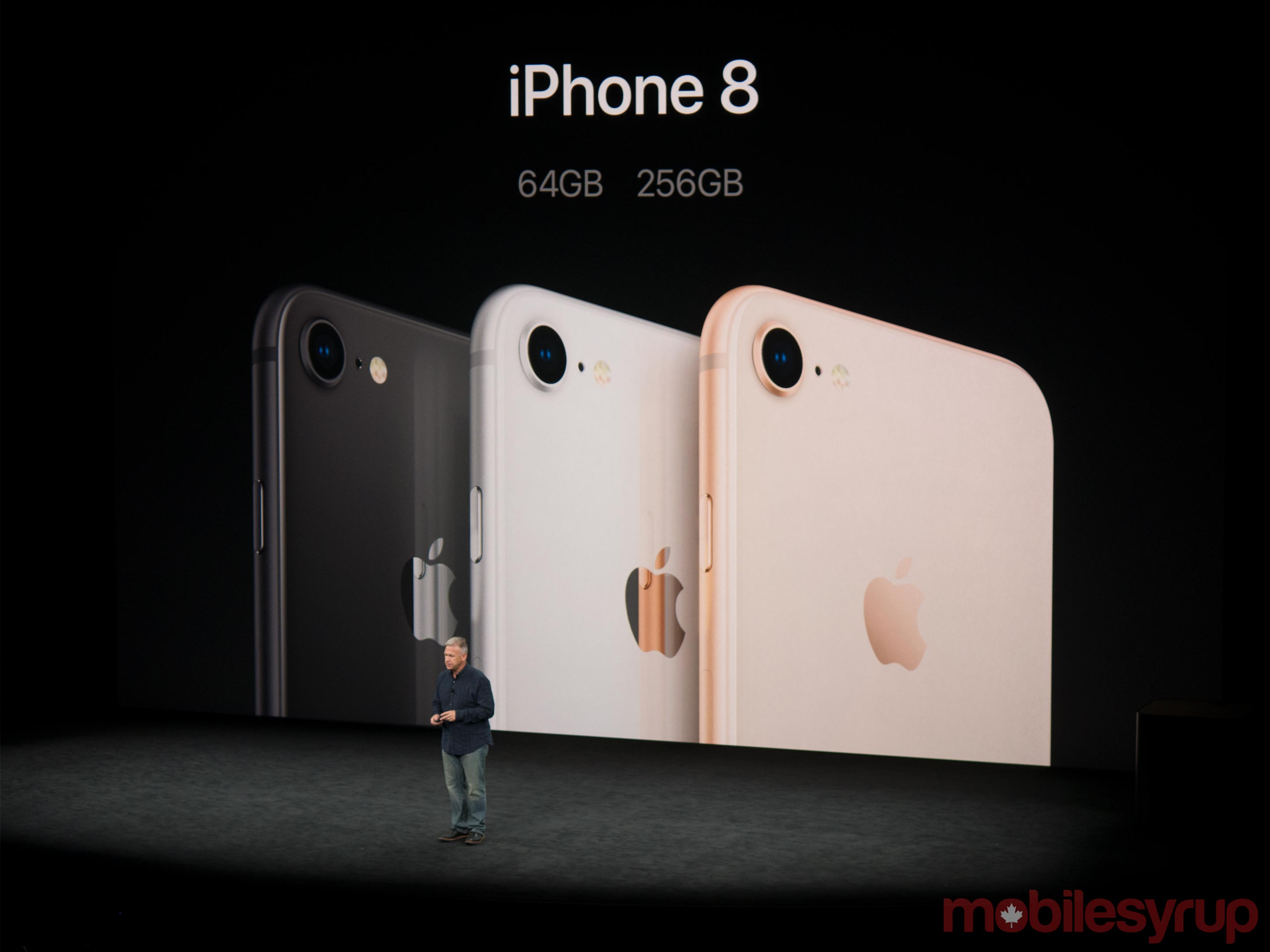 Apple's Phil Schiller presenting the iPhone 8