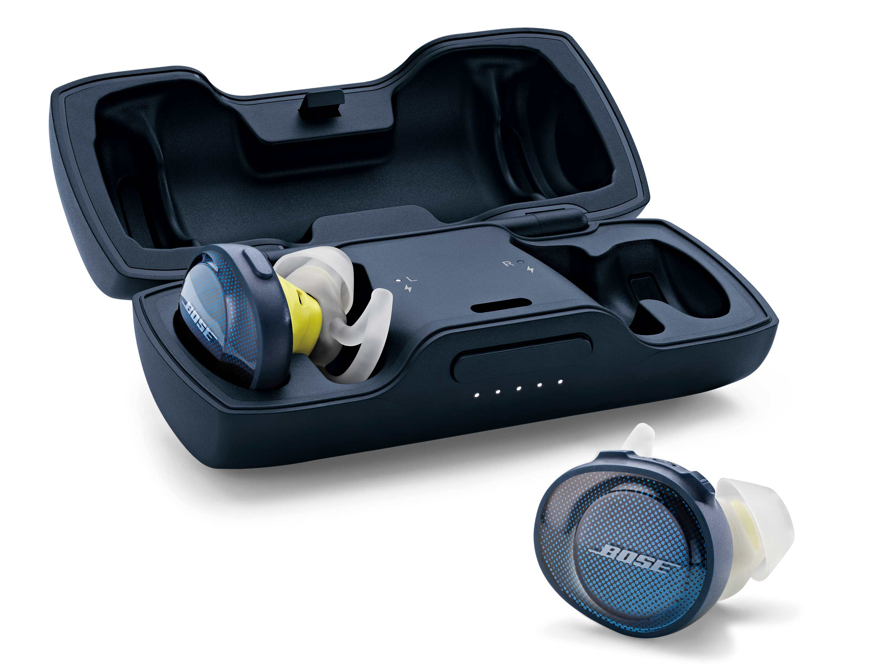 The charging case that comes with the new Bose SoundSport Free headphones