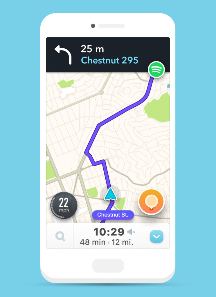 Screenshot of Spotify's playback controls within Waze