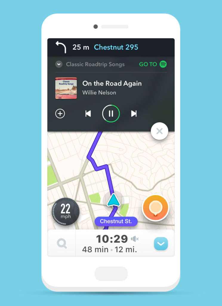 Another screenshot of Waze's new Spotify integration in action