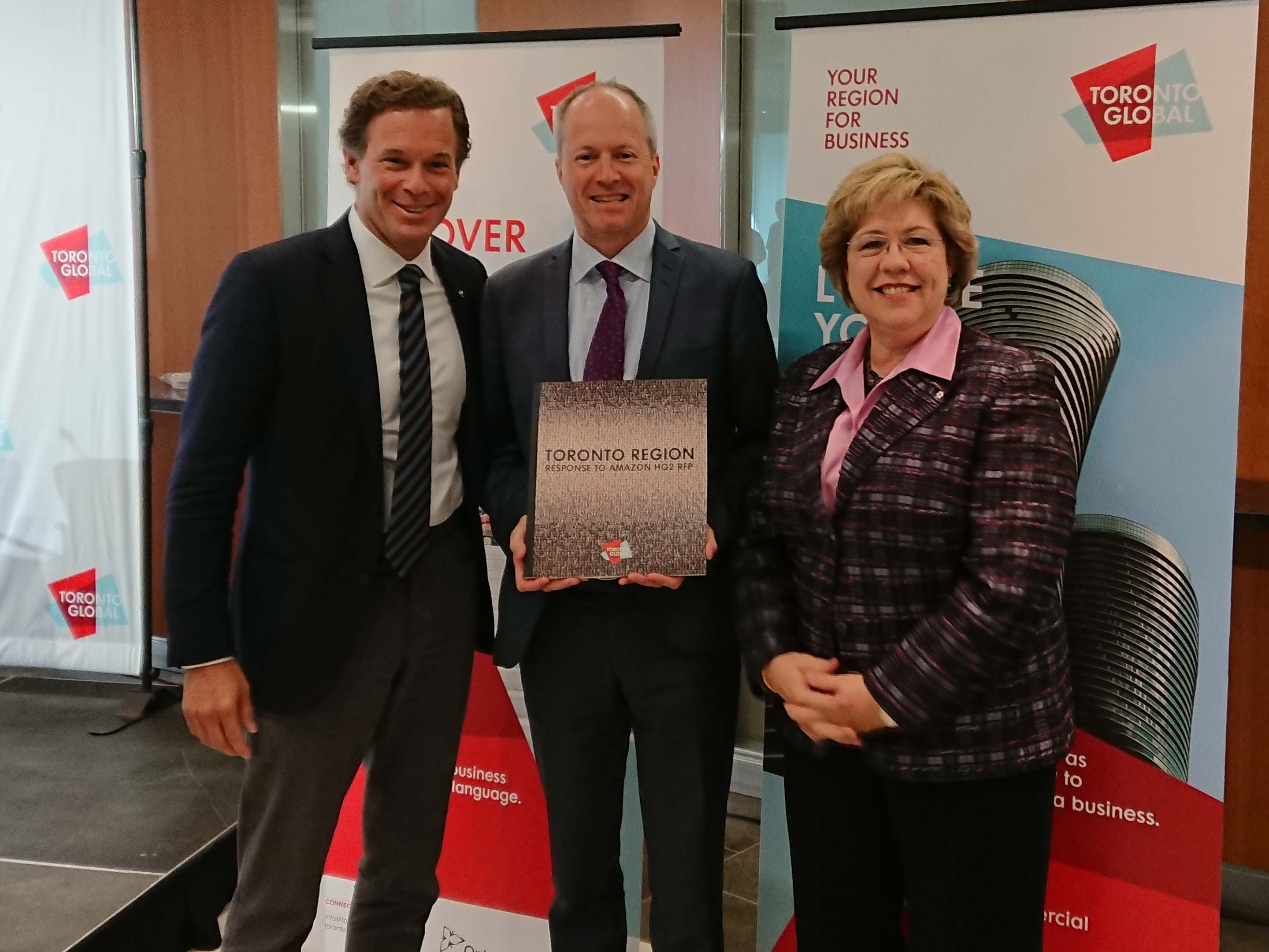Mark Cohon, Toby Lennox, and Janet Ecker from Toronto Global