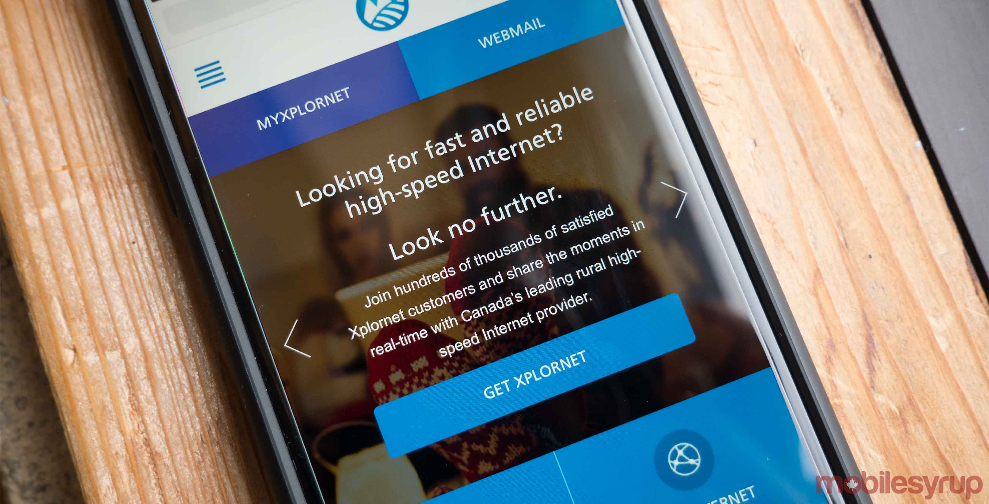 Xplornet LTE Network website on a phone