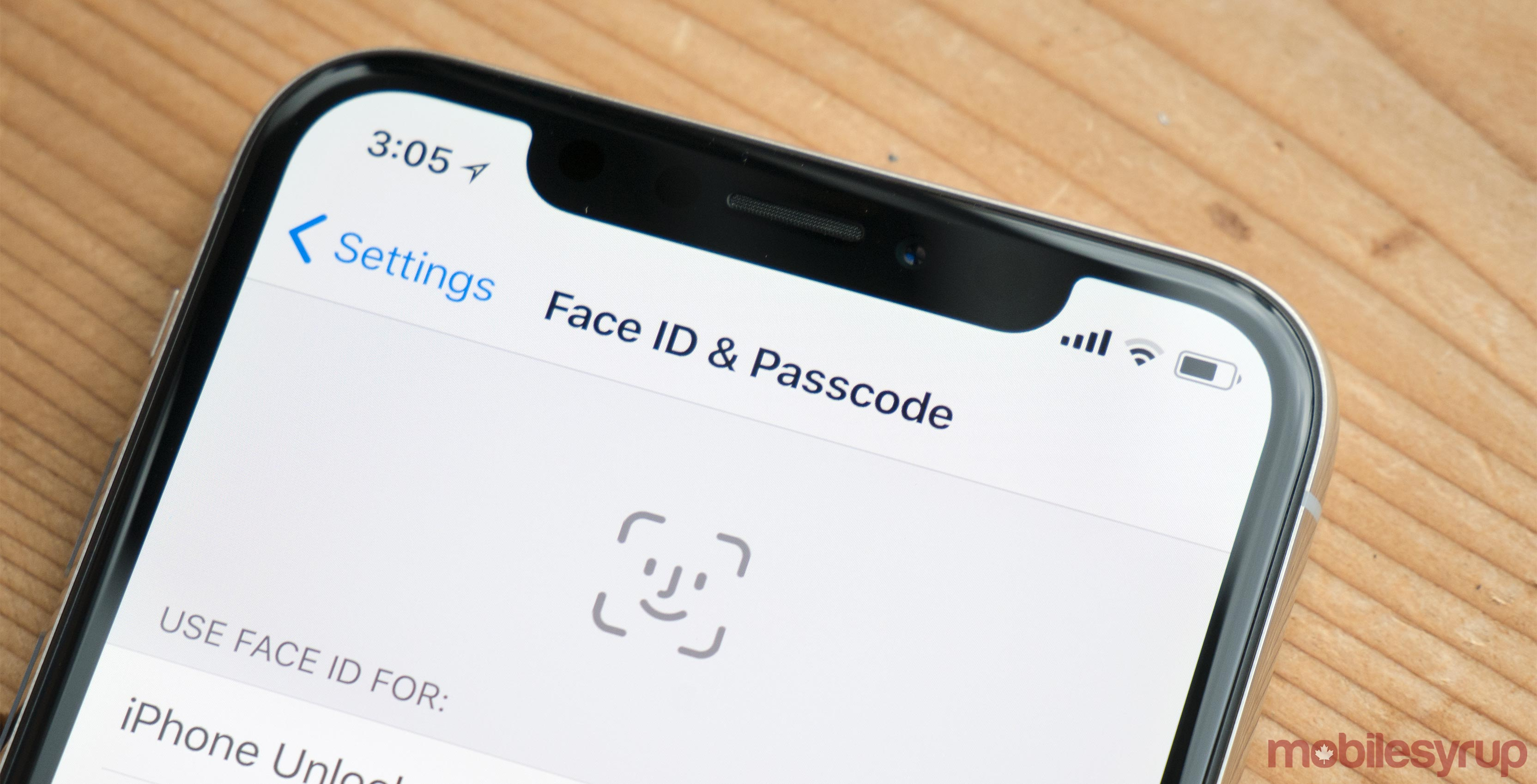 iPhone X Face ID settings