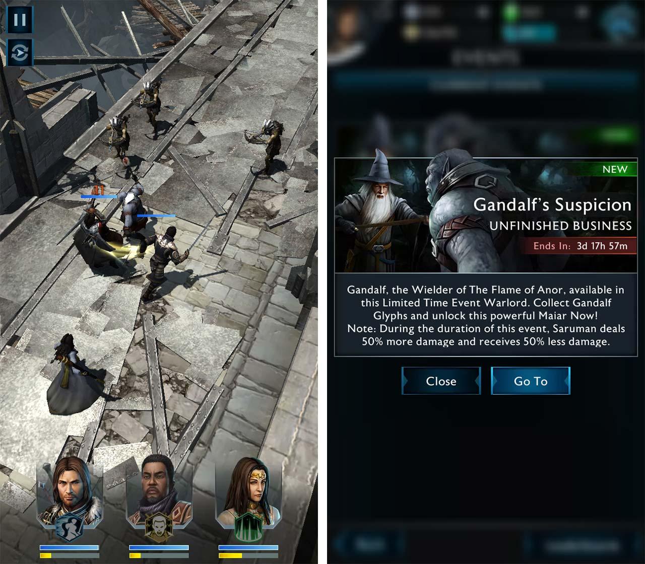 Shadow of War mobile combat