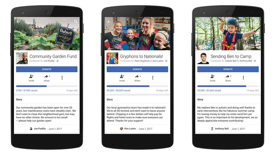 Facebook fundraising on mobile