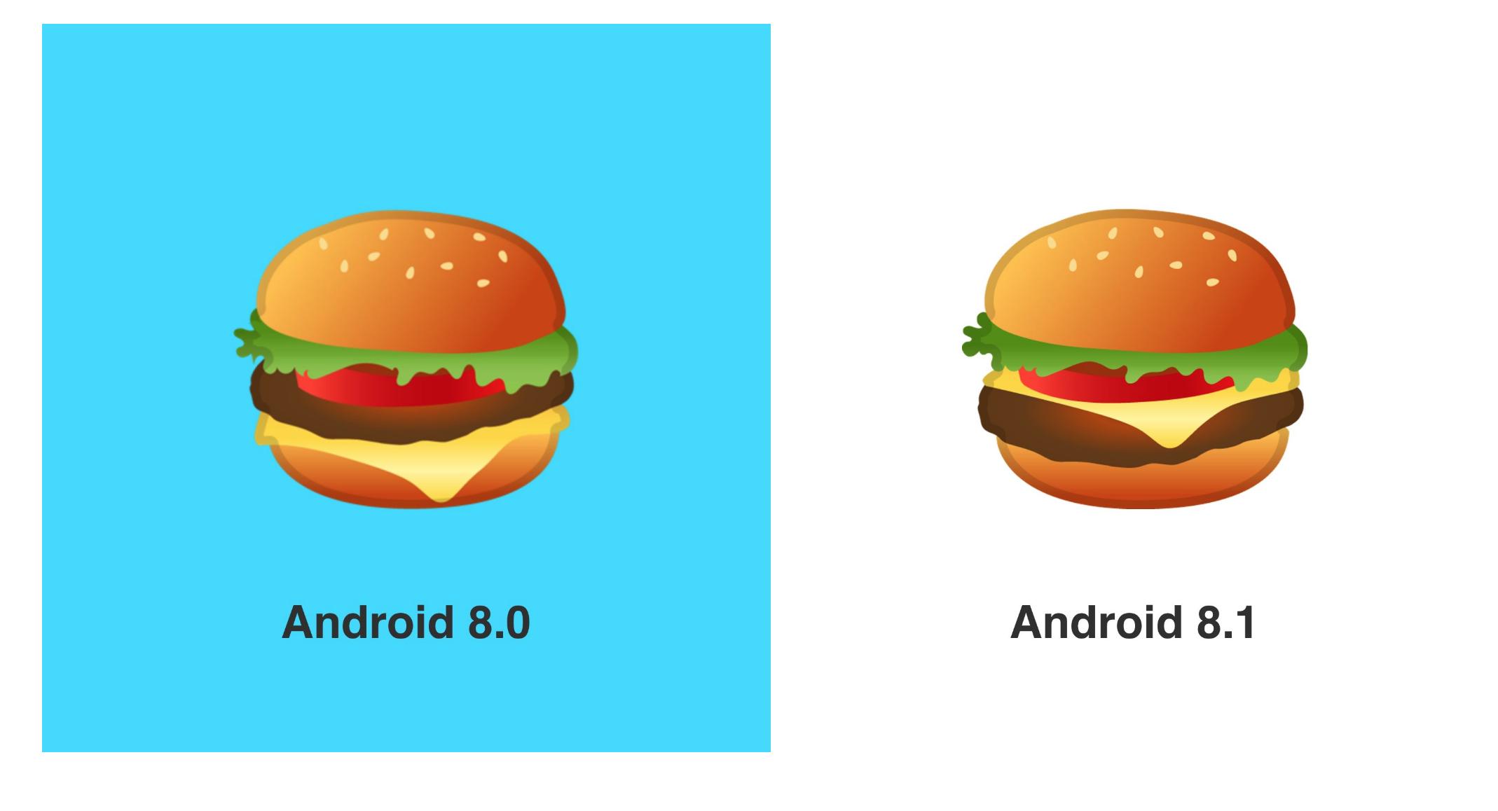 Android 8.1 burger emoji