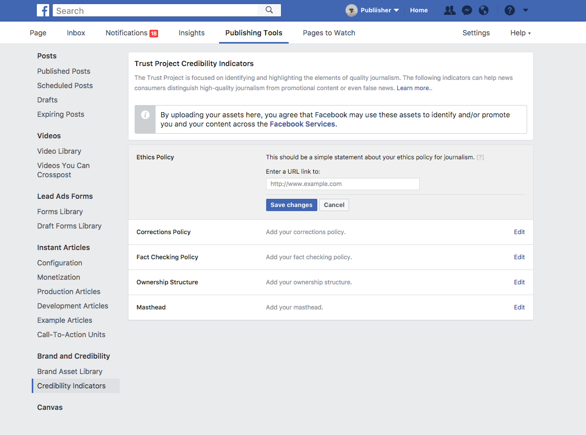 Facebook Trust Indicators publishers