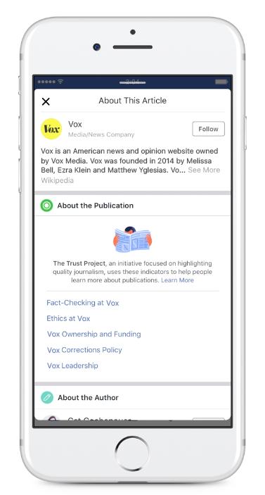 Facebook Trust Indicator user