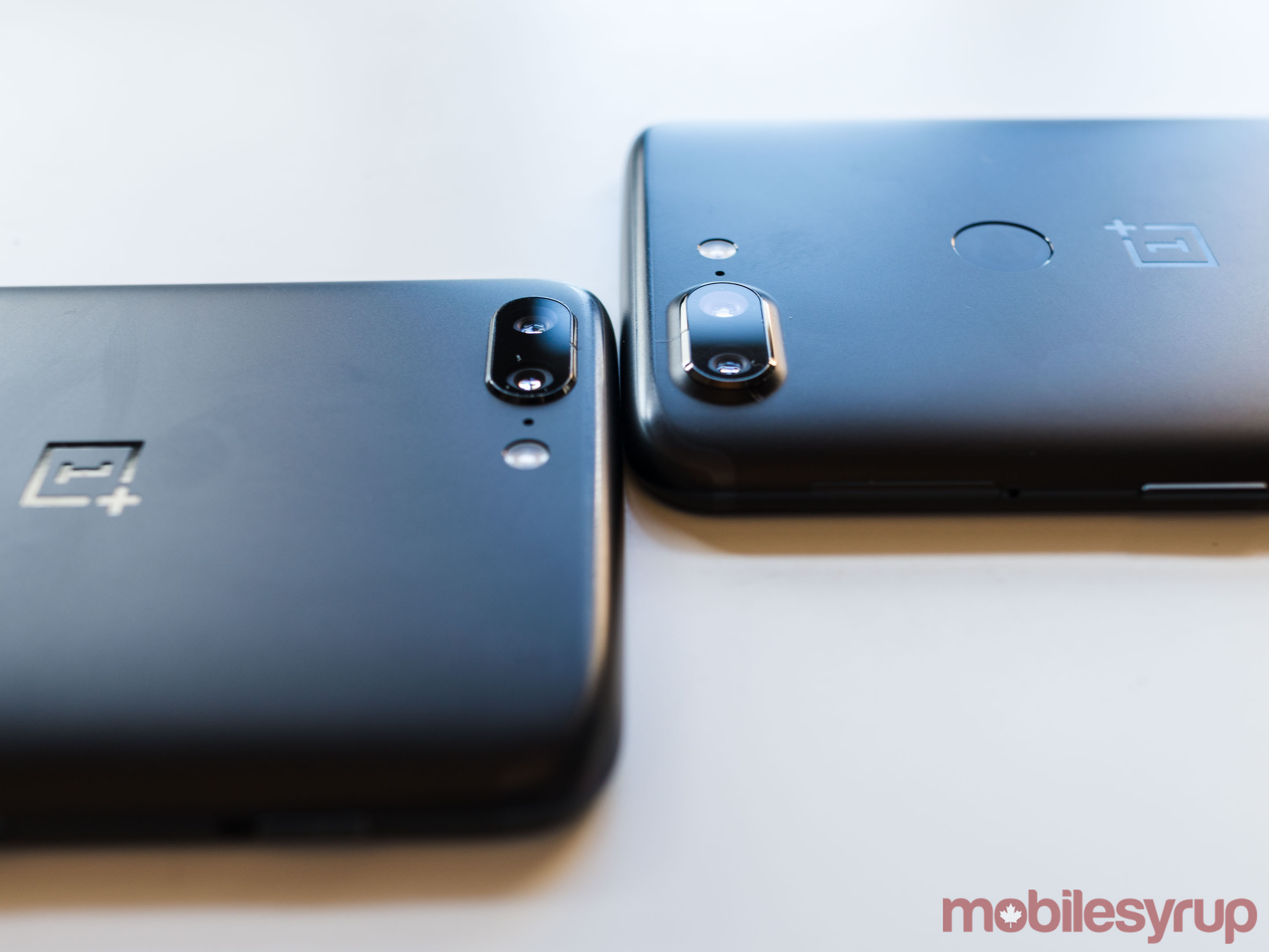 A comparison of the OnePlus 5 and 5T's camera bumps