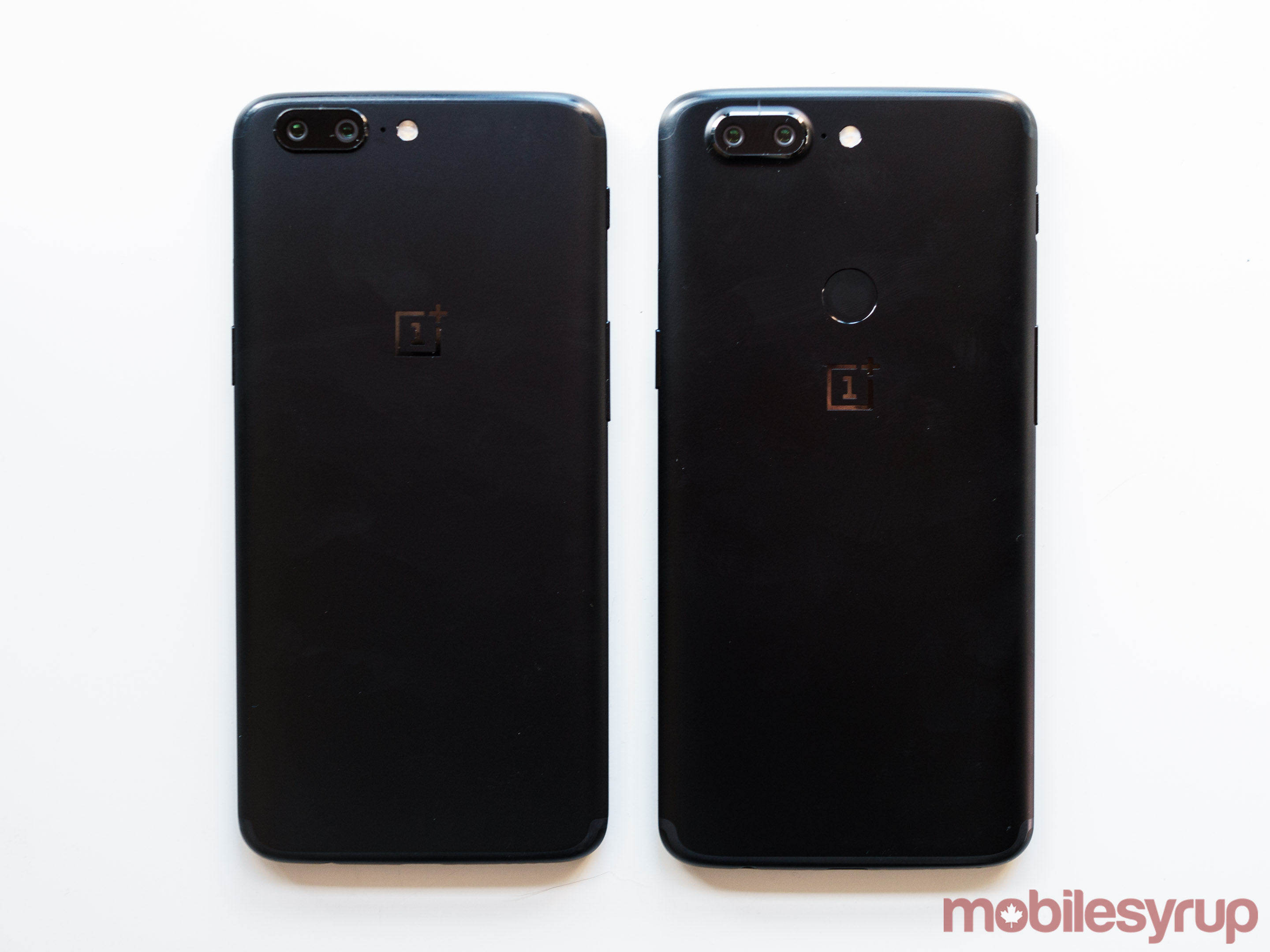 A comparison shot of the back of the two phones