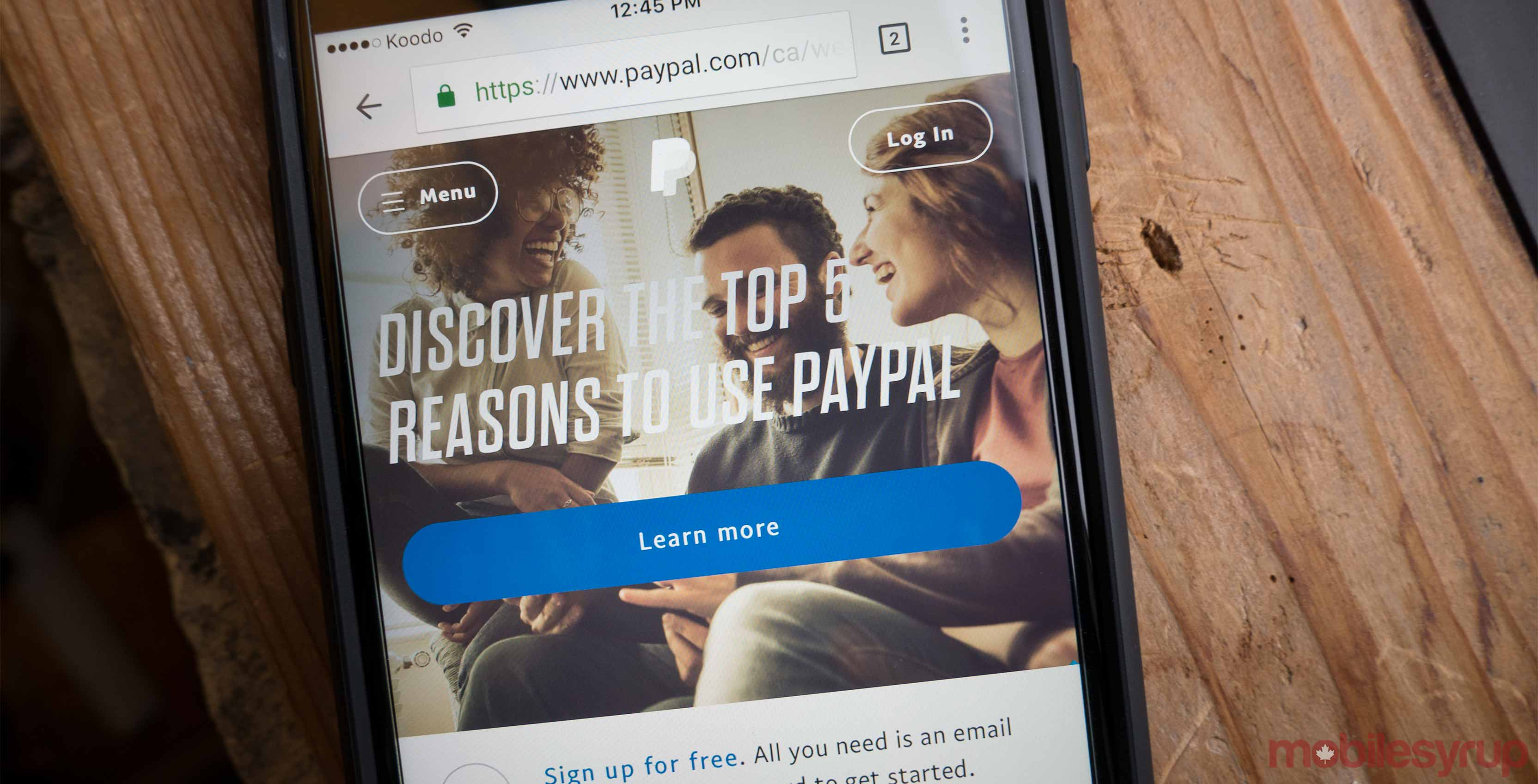 PayPal on phone