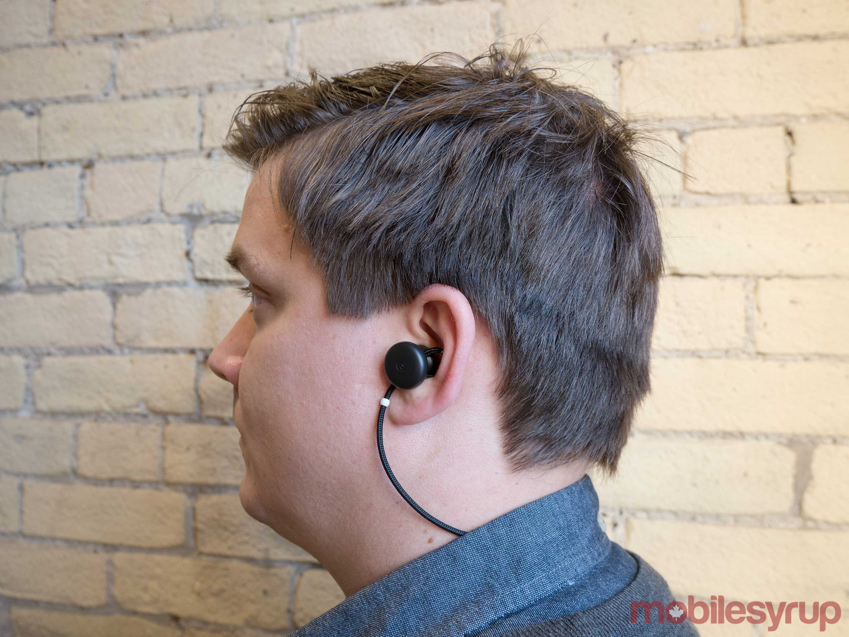 Pixel Buds on ear