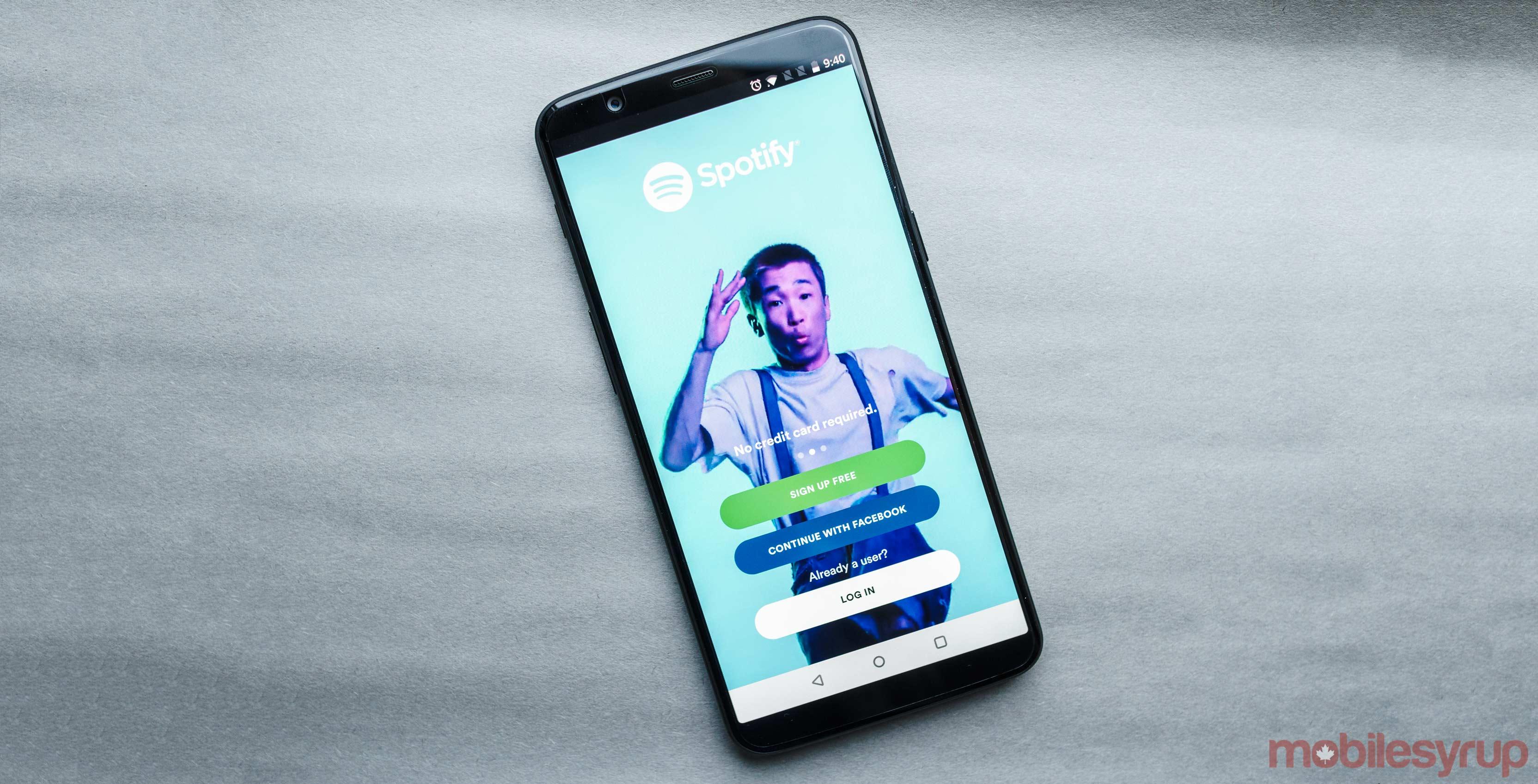 The Spotify login screen