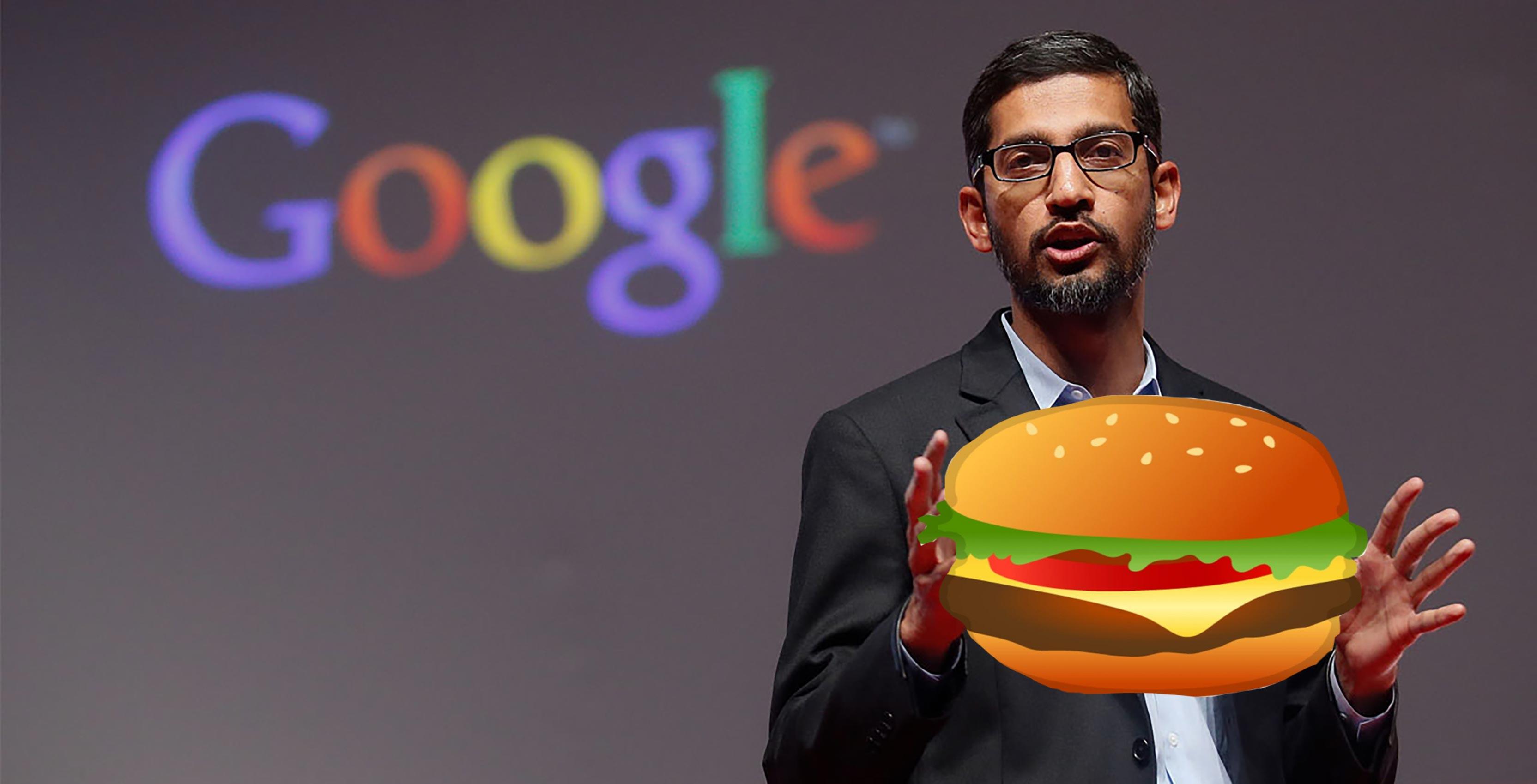 Sundar Pichai with burger
