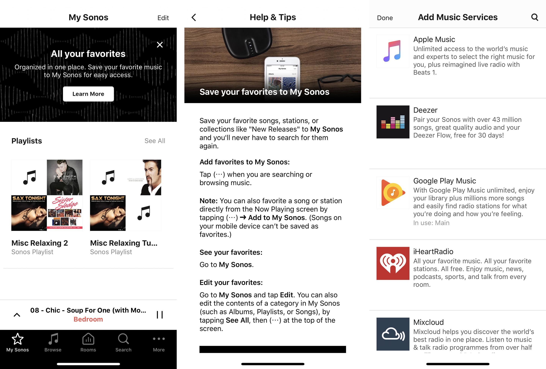 Sonos screenshots