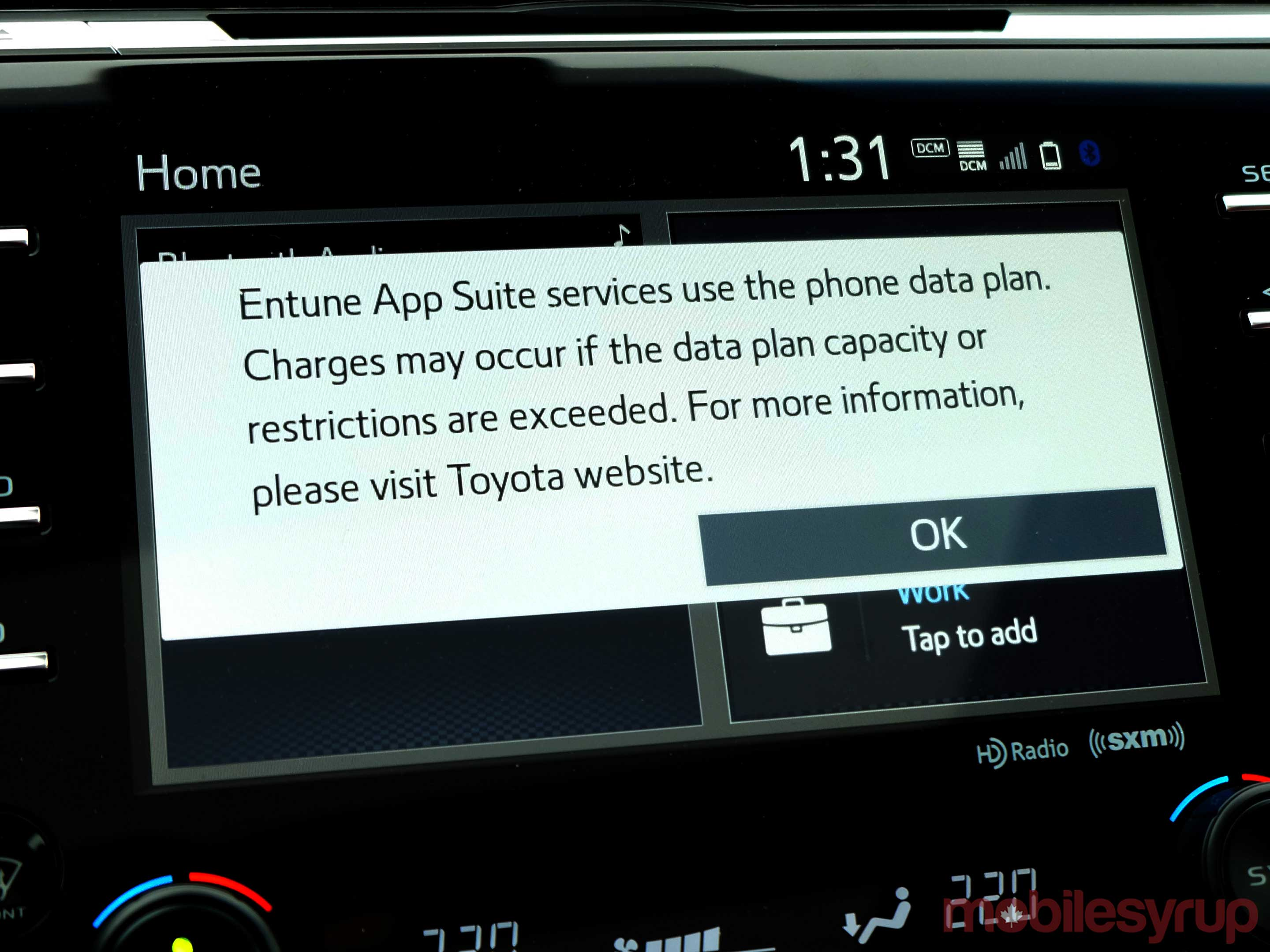 Toyota Entune data screen