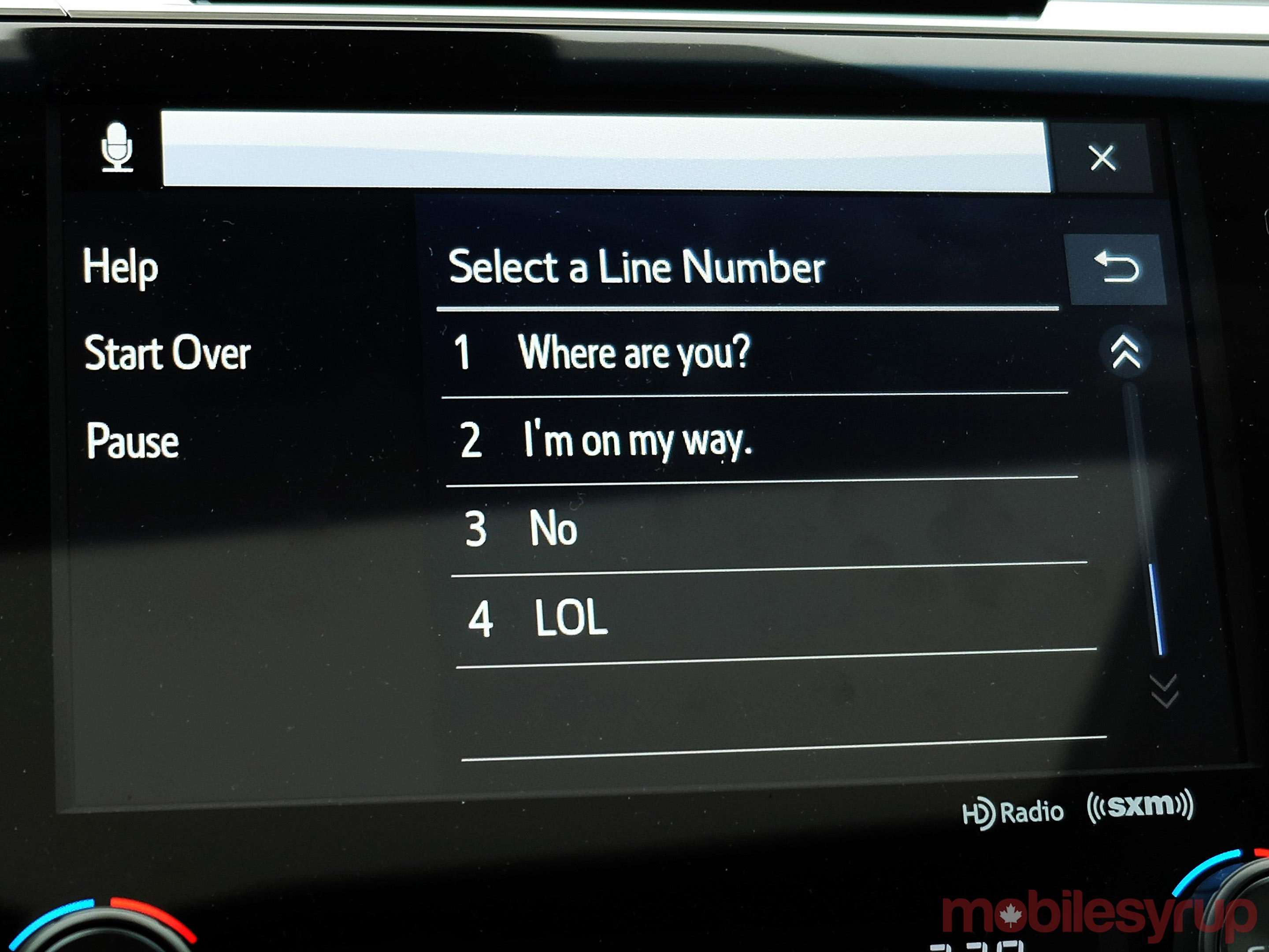 Toyota texting screen