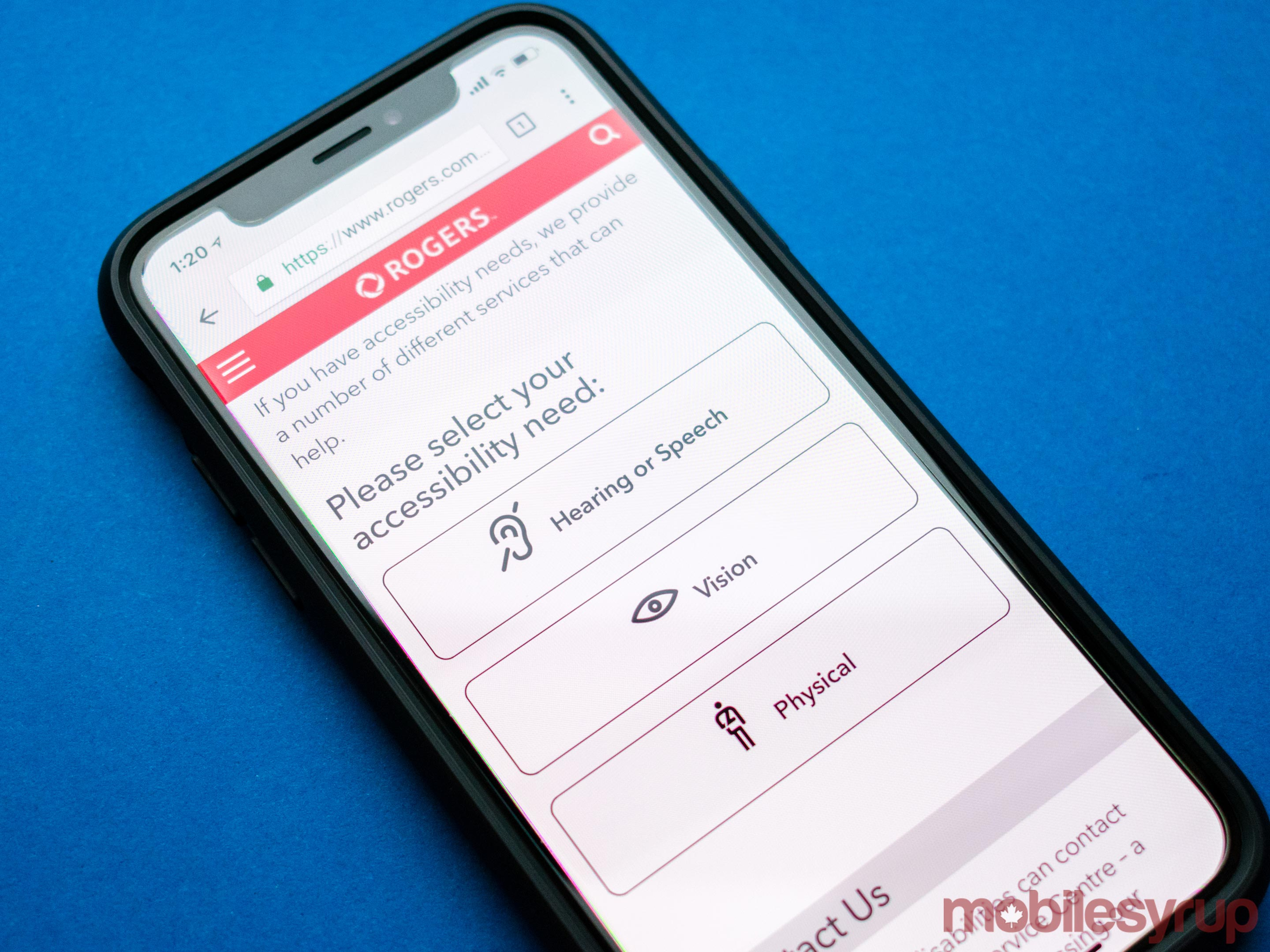 The Rogers Wireless accessibility services page on an iPhone X
