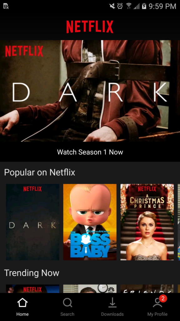 Netflix Android app redesign